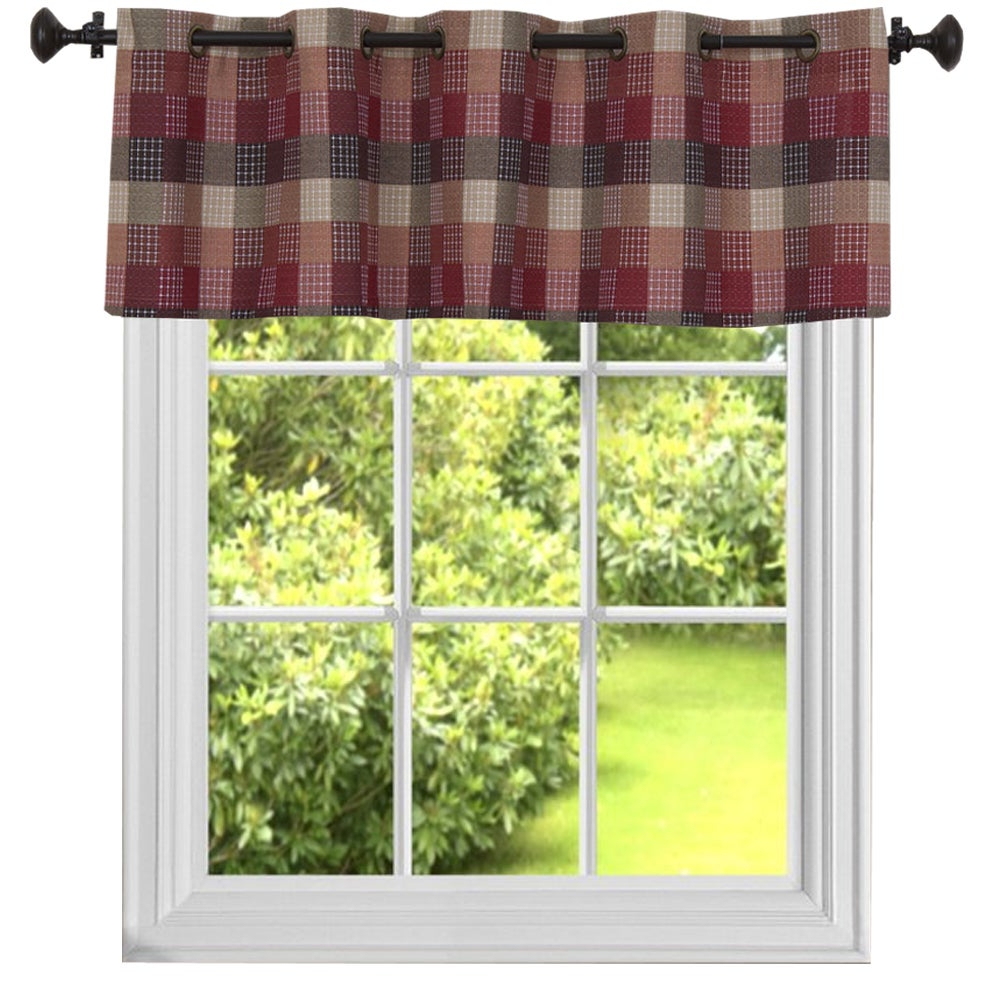 Latest Burgundy Cotton Blend Classic Checkered Decorative Window Curtain Separates Tier Pair With Cotton Blend Classic Checkered Decorative Window Curtains (View 5 of 20)