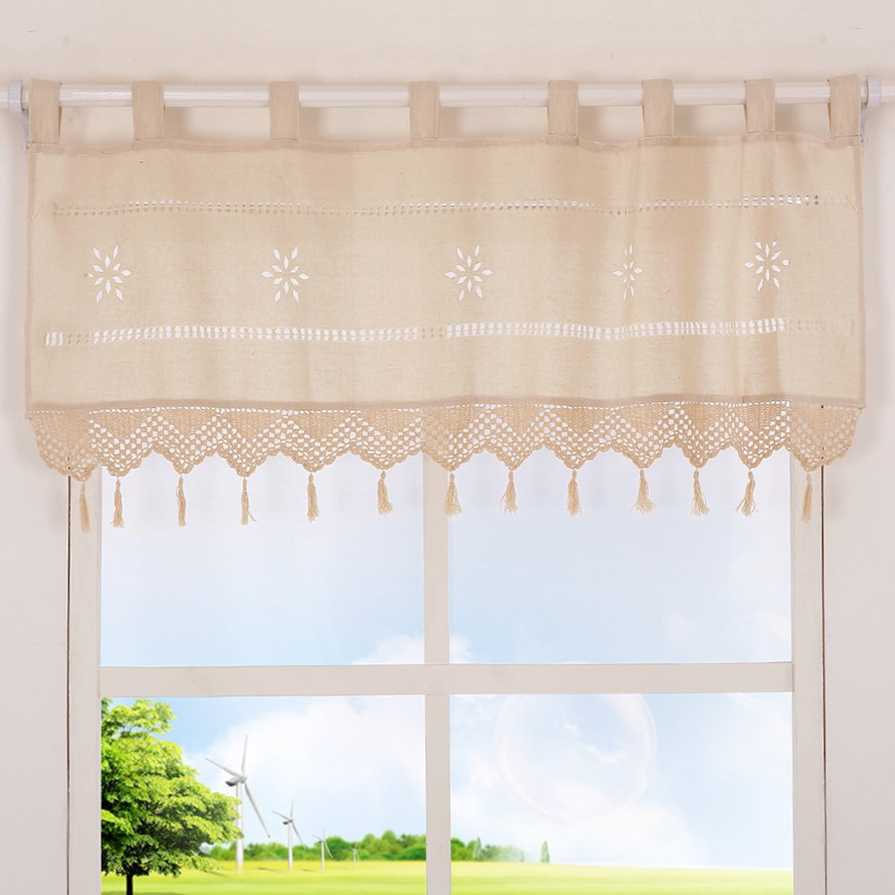 Latest Coffee Drinks Embroidered Window Valances And Tiers Pertaining To Choicehot Cafe Curtain Natural Cotton Linen Embroidery (View 16 of 20)