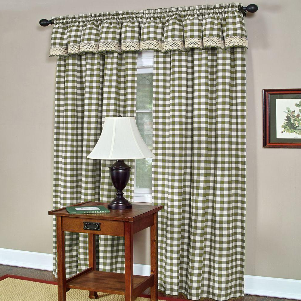 Latest Cotton Blend Classic Checkered Decorative Window Curtains Pertaining To Achim Semi Opaque Buffalo Check Sage Poly/cotton Window Curtain Panel 42 In. W X 84 In (View 17 of 20)