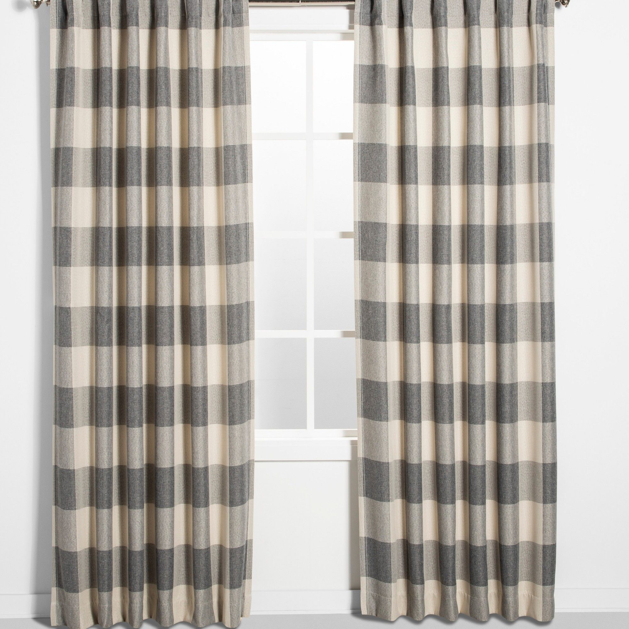"Latest Cotton Blend Classic Checkered Decorative Window Curtains Regarding 52""x84"" Larkhall Plaid Blackout Window Curtain Panel Gray (View 20 of 20)"
