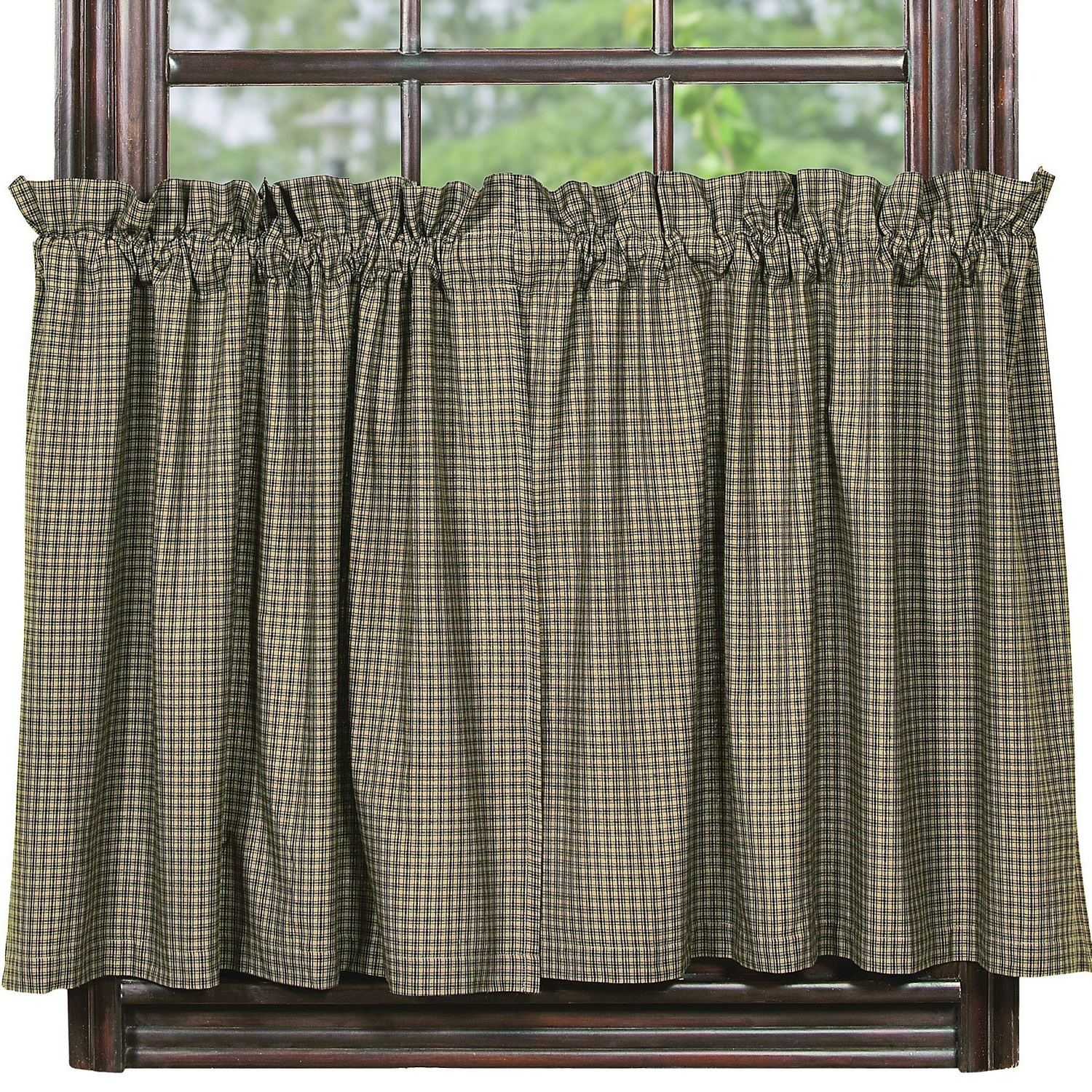 "Latest Cotton Blend Classic Checkered Decorative Window Curtains Regarding Amazon: Ihf Home Decor 36"" Tier Curtain Vintage Star (View 10 of 20)"