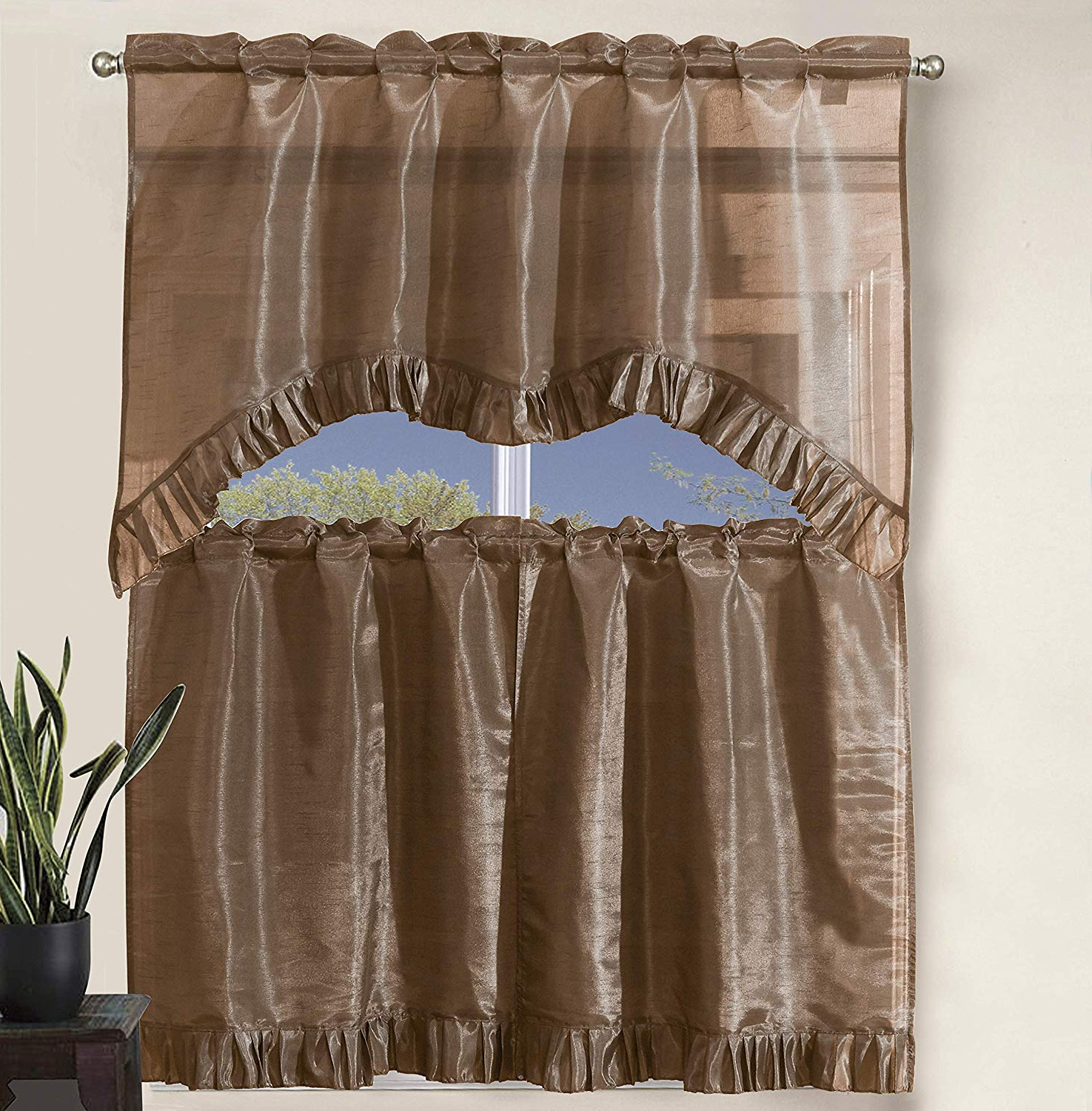 """Latest Decotex 3 Piece Pleated Ruffles Faux Silk Solid Kitchen Window Treatment  Curtain Set With Tiers And Valance (36"""" Tiers With Swag Valance, Taupe) Pertaining To Pleated Curtain Tiers (Gallery 14 of 20)"""