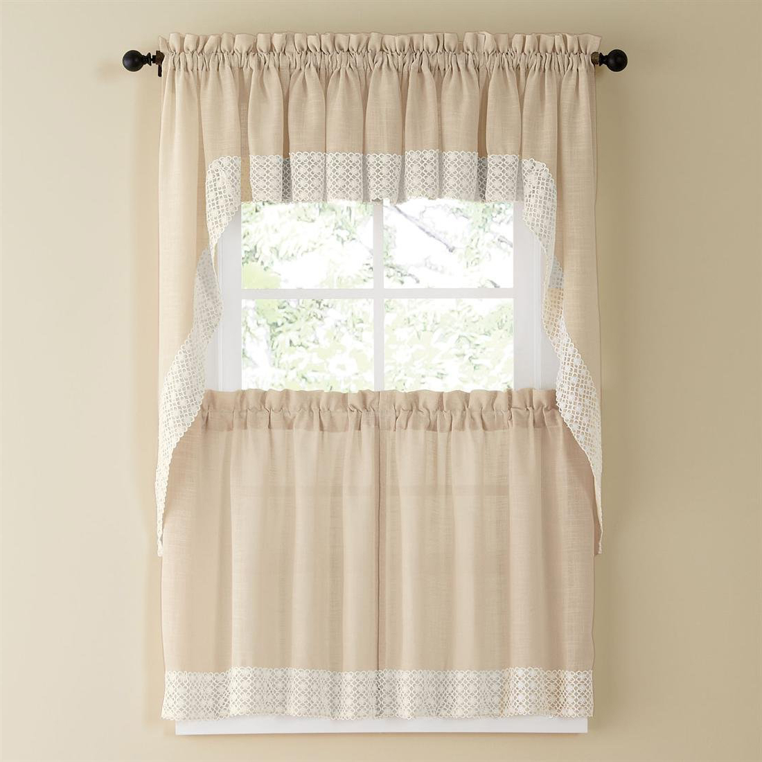 Latest Details About Salem Kitchen Curtain – French Vanilla W/lace Trim – Lorraine  Home Fashions For Tranquility Curtain Tier Pairs (View 6 of 20)