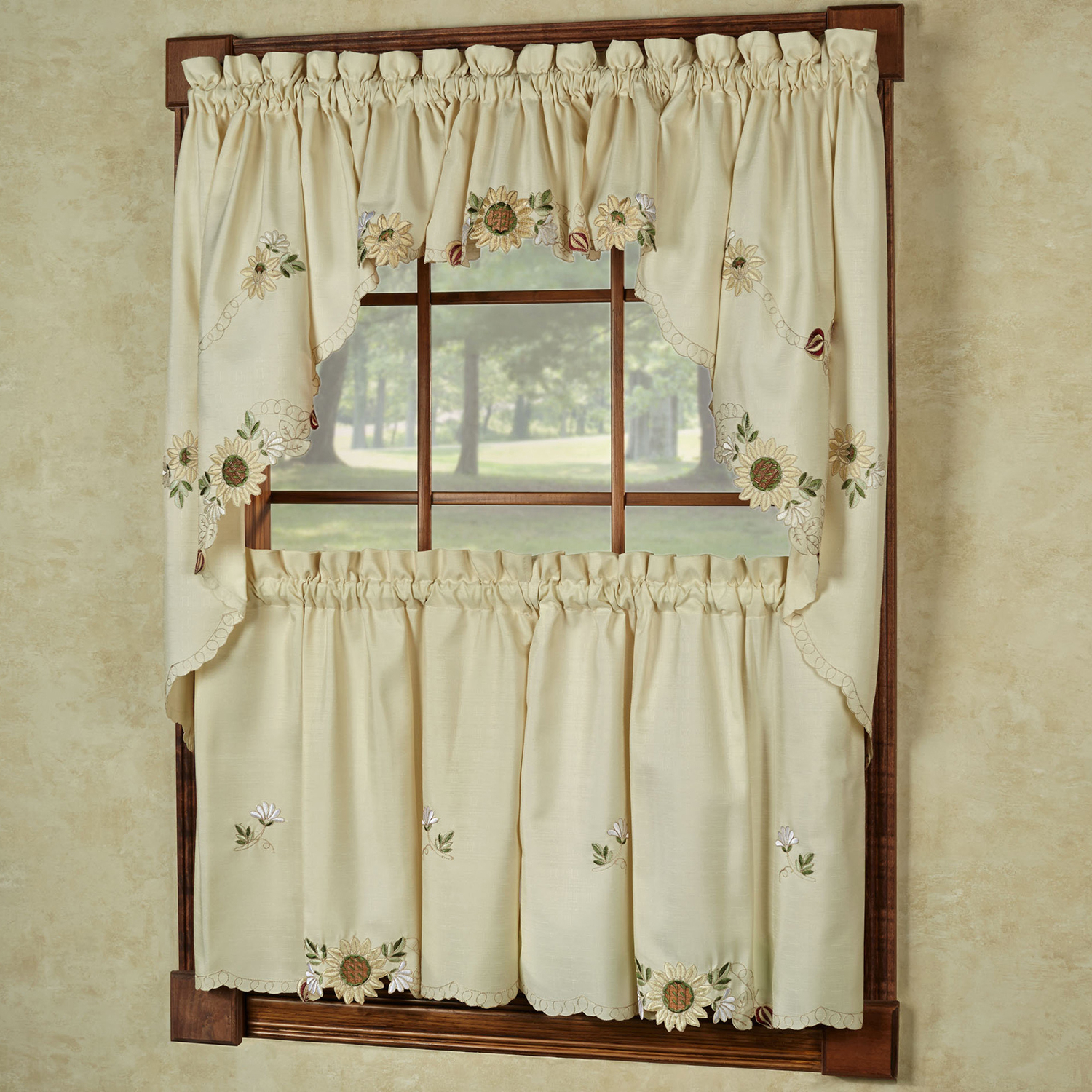 """Latest Details About Sunflower Cream Embroidered Kitchen Curtains 24"""" Tier, Swag & Valance Set Regarding Cotton Blend Ivy Floral Tier Curtain And Swag Sets (View 9 of 20)"""
