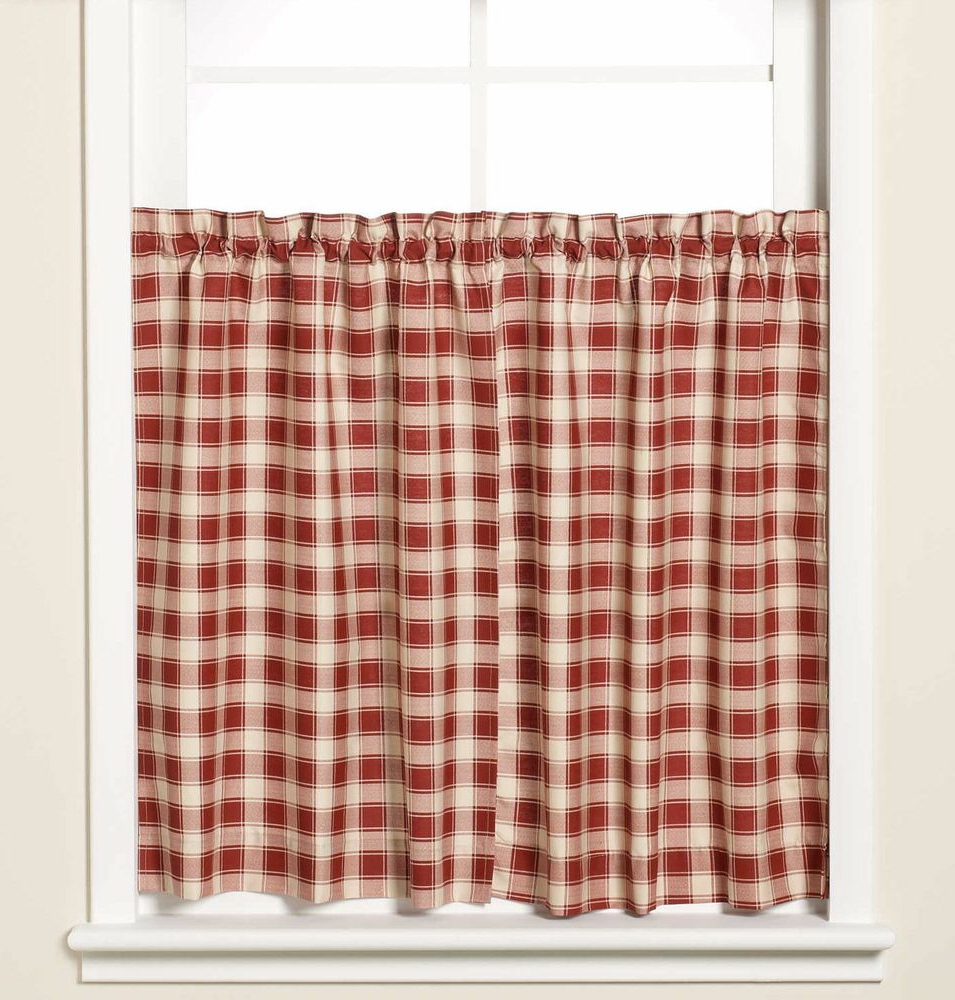 Latest Dexter 24 Inch Tier Pairs In Green Intended For New Versa Ties Country Check Window Curtain Tier Pair In Brick 59x36 59 X 36 Red (View 7 of 20)