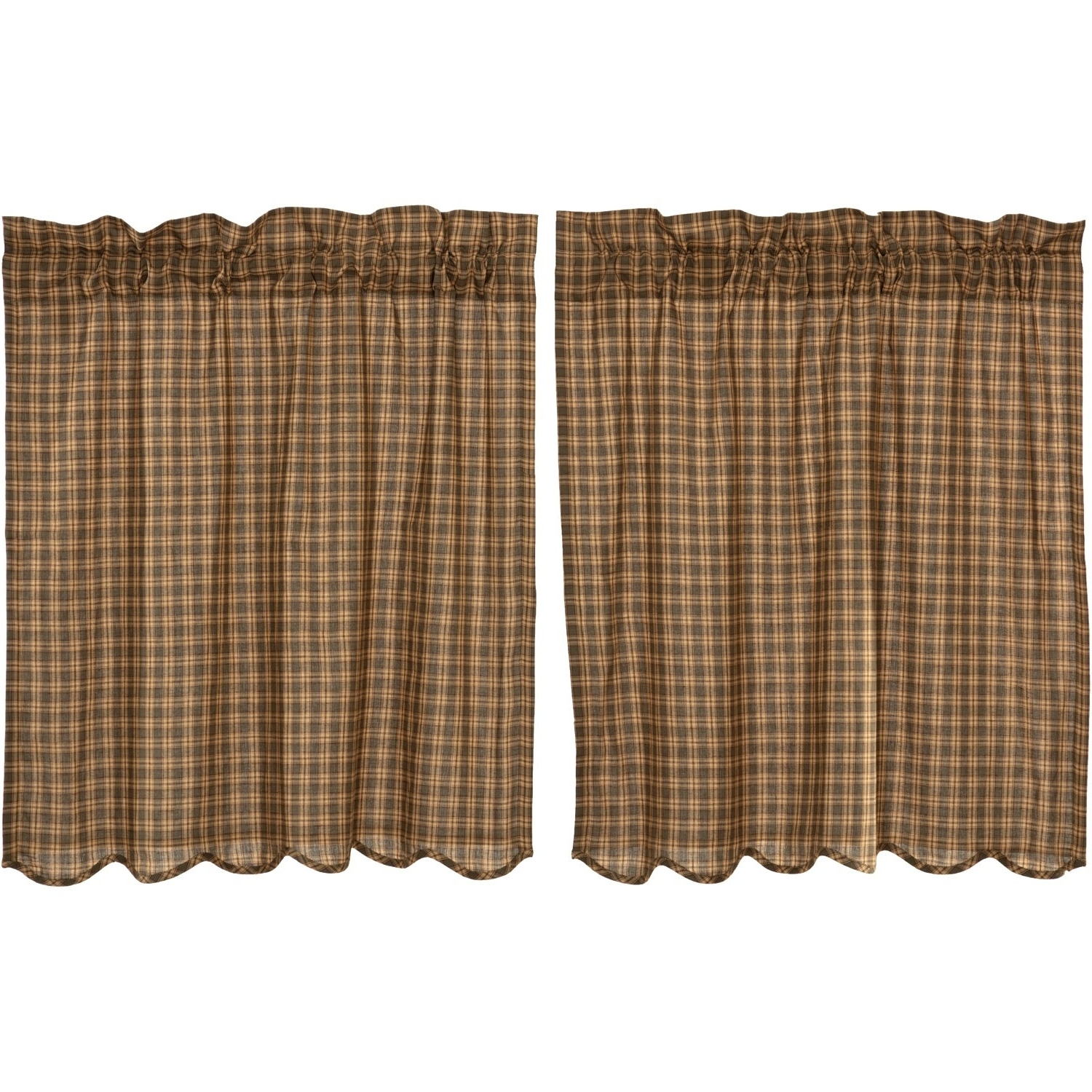 Latest Dexter 24 Inch Tier Pairs In Green With Regard To Green Rustic Kitchen Curtains Vhc Cedar Ridge Tier Pair Rod Pocket Cotton Plaid (View 18 of 20)