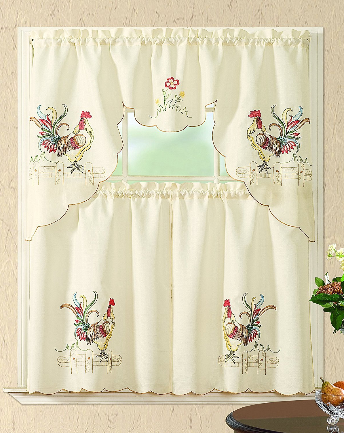 Latest Embroidered Chef Black 5 Piece Kitchen Curtain Sets With Regard To All American Collection New 3Pc Embroidered Kitchen Curtain Set Various  Designs (Swag Valance, Colored Rooster) (Gallery 8 of 20)
