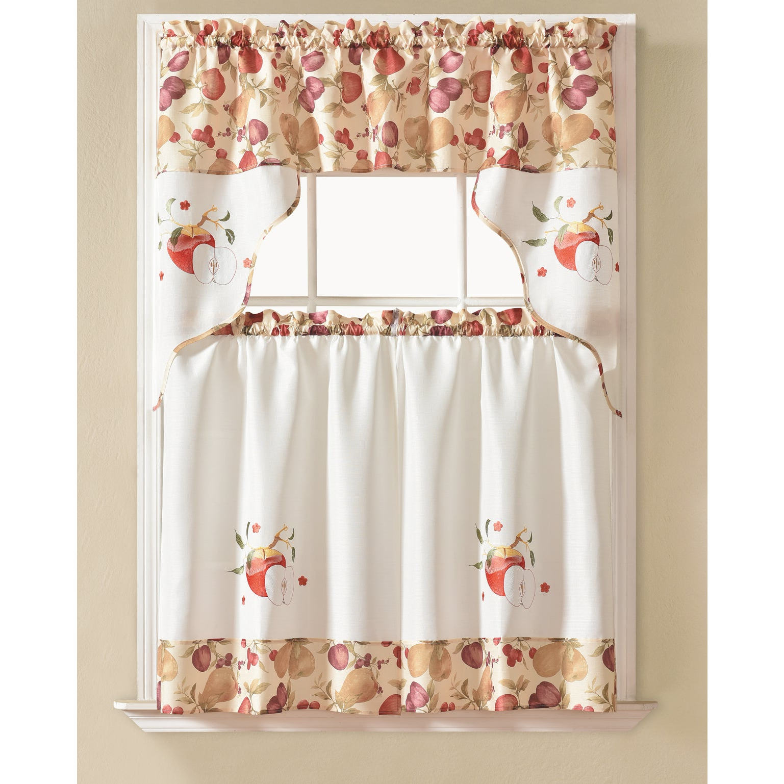 Latest Embroidered Ladybugs Window Curtain Pieces Inside Rt Designers Collection Urban Embroidered Tier And Valance Kitchen Curtain Tier Set (View 9 of 20)