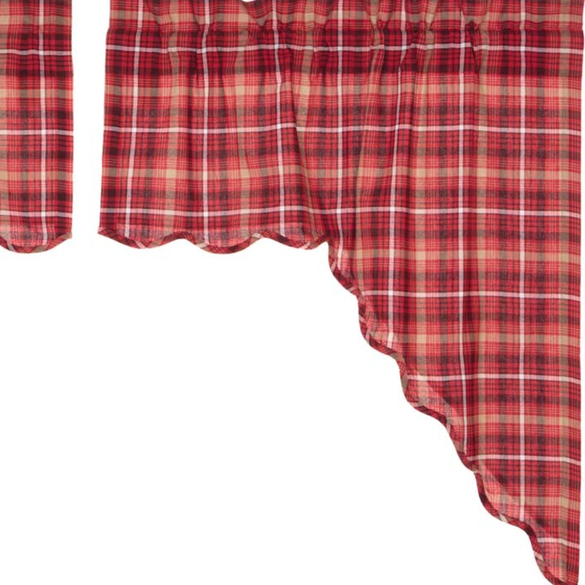 Latest Lodge Plaid 3 Piece Kitchen Curtain Tier And Valance Sets Within Apple Red Rustic & Lodge Kitchen Curtains Braxton Rod Pocket Cotton Plaid  Swag Pair (Gallery 14 of 20)