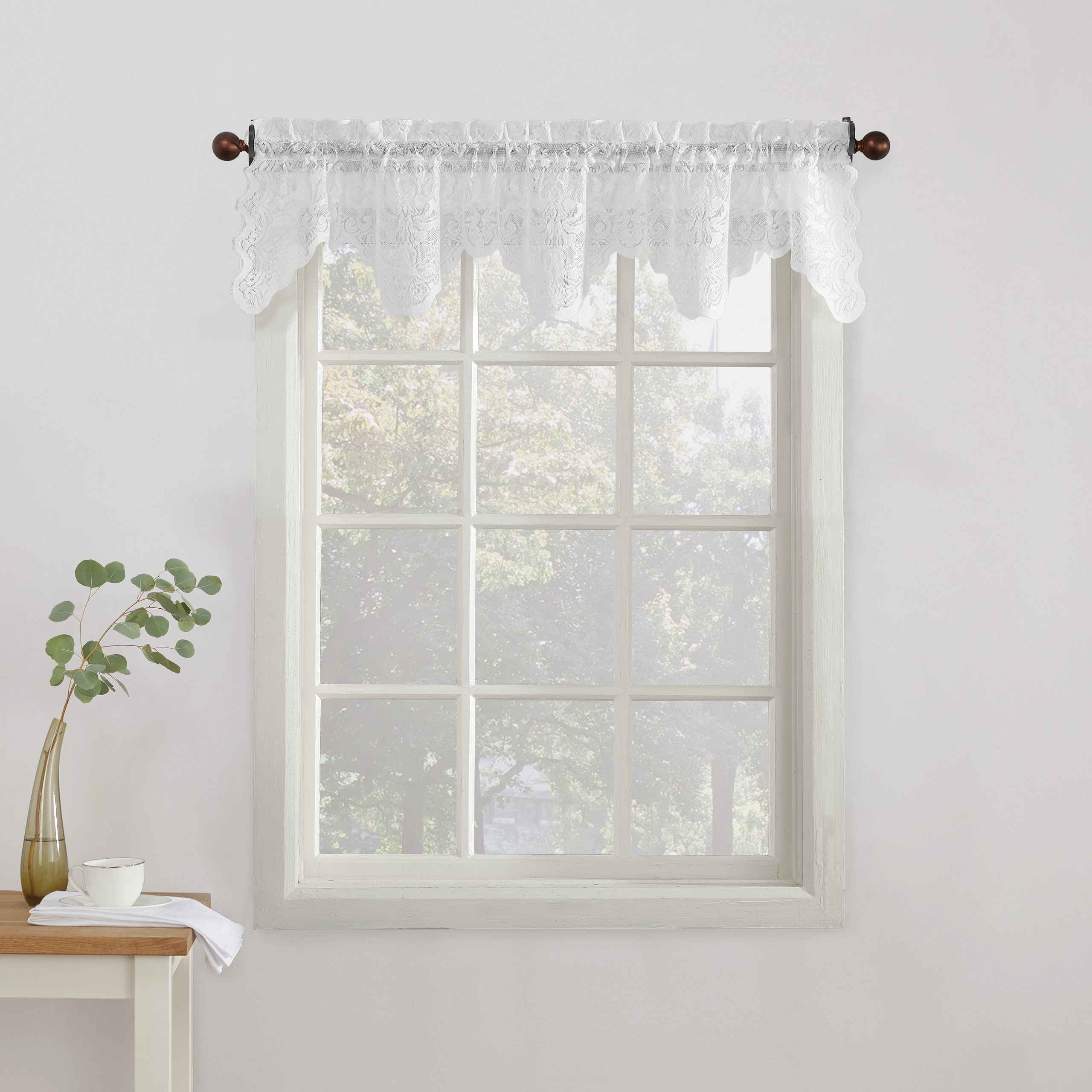 Latest No. 918 Quinn Floral Lace Sheer Rod Pocket Kitchen Curtains Pertaining To Floral Lace Rod Pocket Kitchen Curtain Valance And Tiers Sets (Gallery 9 of 20)