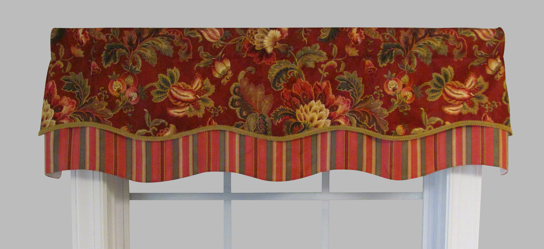 Latest Noblesse Ruby Double Scallop Valance With Regard To Floral Pattern Window Valances (View 16 of 20)