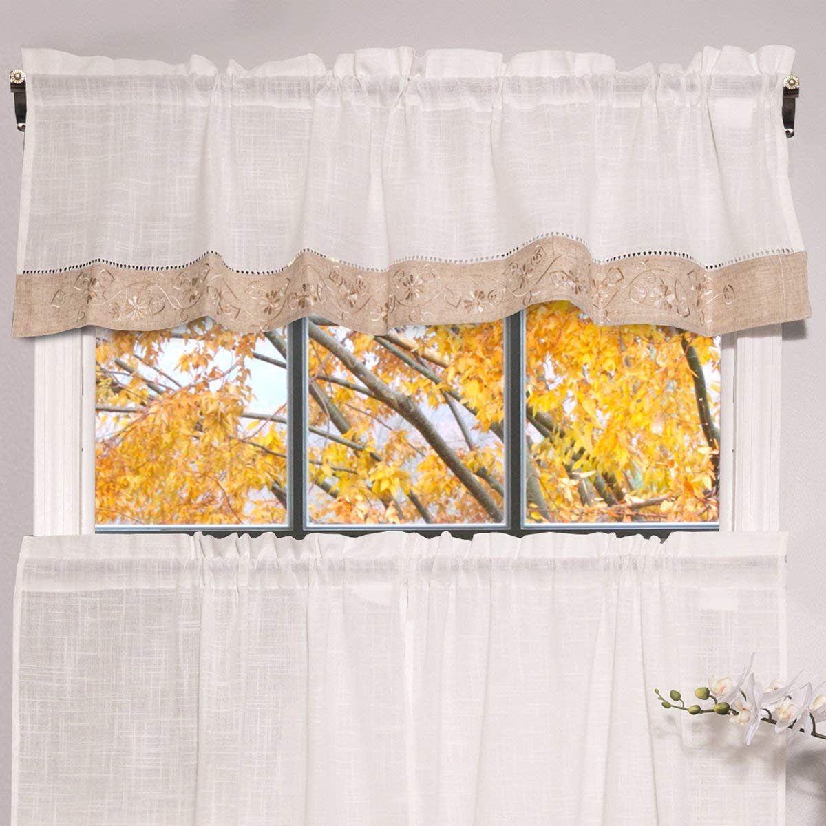 Latest Oakwood Linen Style Decorative Window Curtain Tier Sets Within Amazon: Bed Bath N More Oakwood Linen Style Decorative (View 5 of 20)