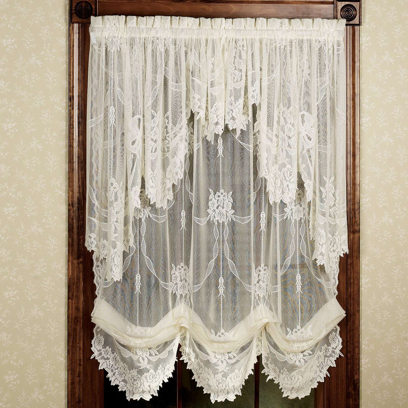 Latest Pretty Country Lace Curtains Swags For Living Room Catalog With Regard To Country Style Curtain Parts With White Daisy Lace Accent (View 18 of 20)