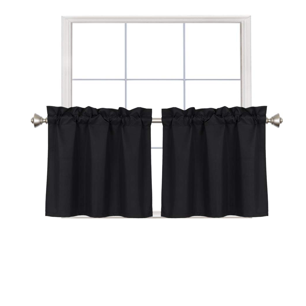Latest Rod Pocket Kitchen Tiers In Home Queen Blackout Rod Pocket Tier Curtains For Small Window, Short Room Darkening Kitchen Curtains, Café Drapes, 2 Panels, 30 Wx 24 L Inch Each, (View 10 of 20)