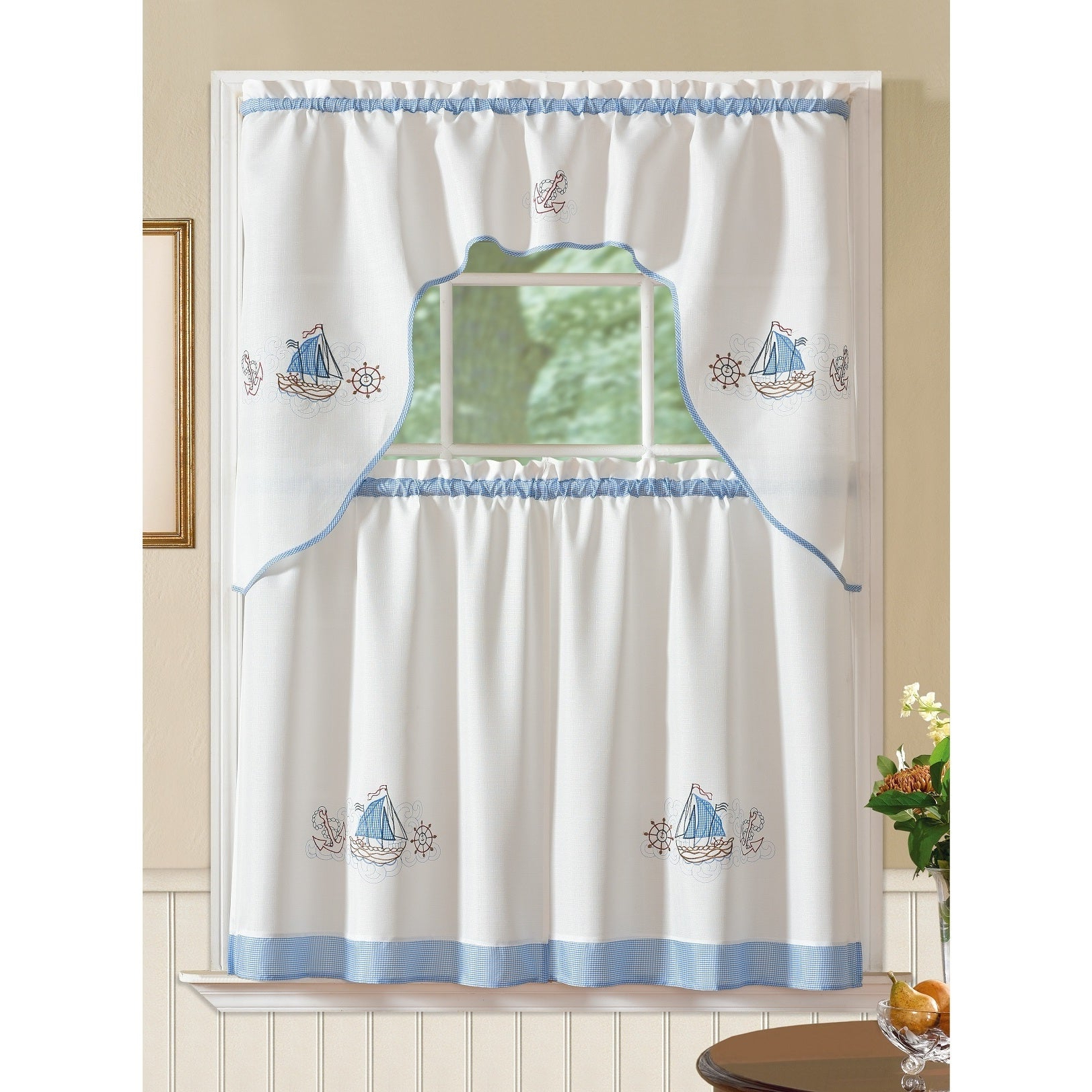 Latest Rt Designers Collection Grand Ocean Embroidered Curtain Tier Set Pertaining To Seabreeze 36 Inch Tier Pairs In Ocean (Gallery 19 of 20)
