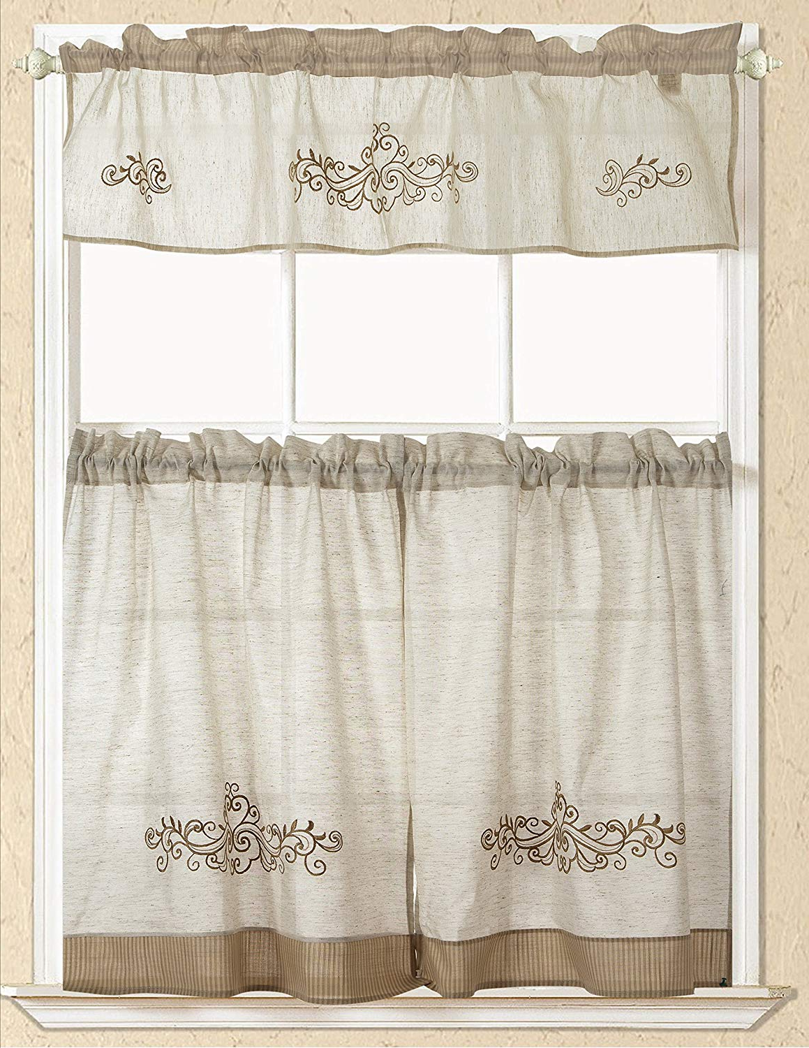 "Latest Rt Designers Collection Rt Designers Rustic Scroll Embroidered Kitchen  Curtain, 1 Straight Valance 58 Inch X 15 Inch & 2 Tiers 30 Inch X 36 Inch,  58"" Intended For Scroll Leaf 3 Piece Curtain Tier And Valance Sets (View 4 of 20)"