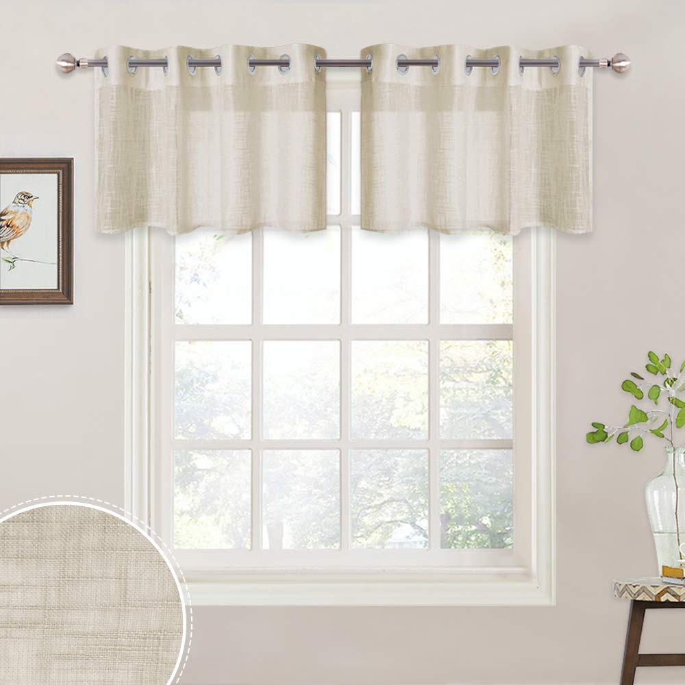 Latest Ryb Home Semi Sheer Tiers Pleated Linen Textured, Grommet Half Window  Valance For Kitchen Cafe, Decorative Short Curtains, 52 Inch Wide X 18 Inch  Long Pertaining To Pleated Curtain Tiers (Gallery 6 of 20)