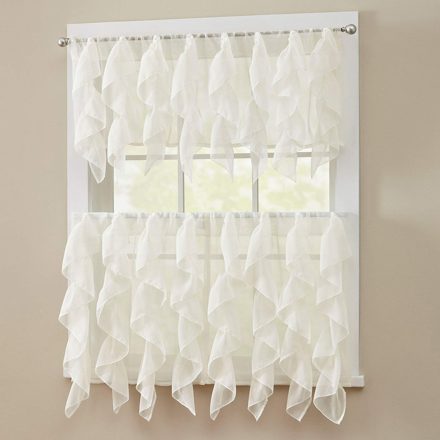 "Latest Silver Vertical Ruffled Waterfall Valance And Curtain Tiers In Sweet Home Collection 3 Piece Kitchen Curtain Set Sheet Vertical Cascading Waterfall Ruffle Includes Valance & Choice Of 24"" Or 36"" Teir Pair, Tier, (View 14 of 20)"