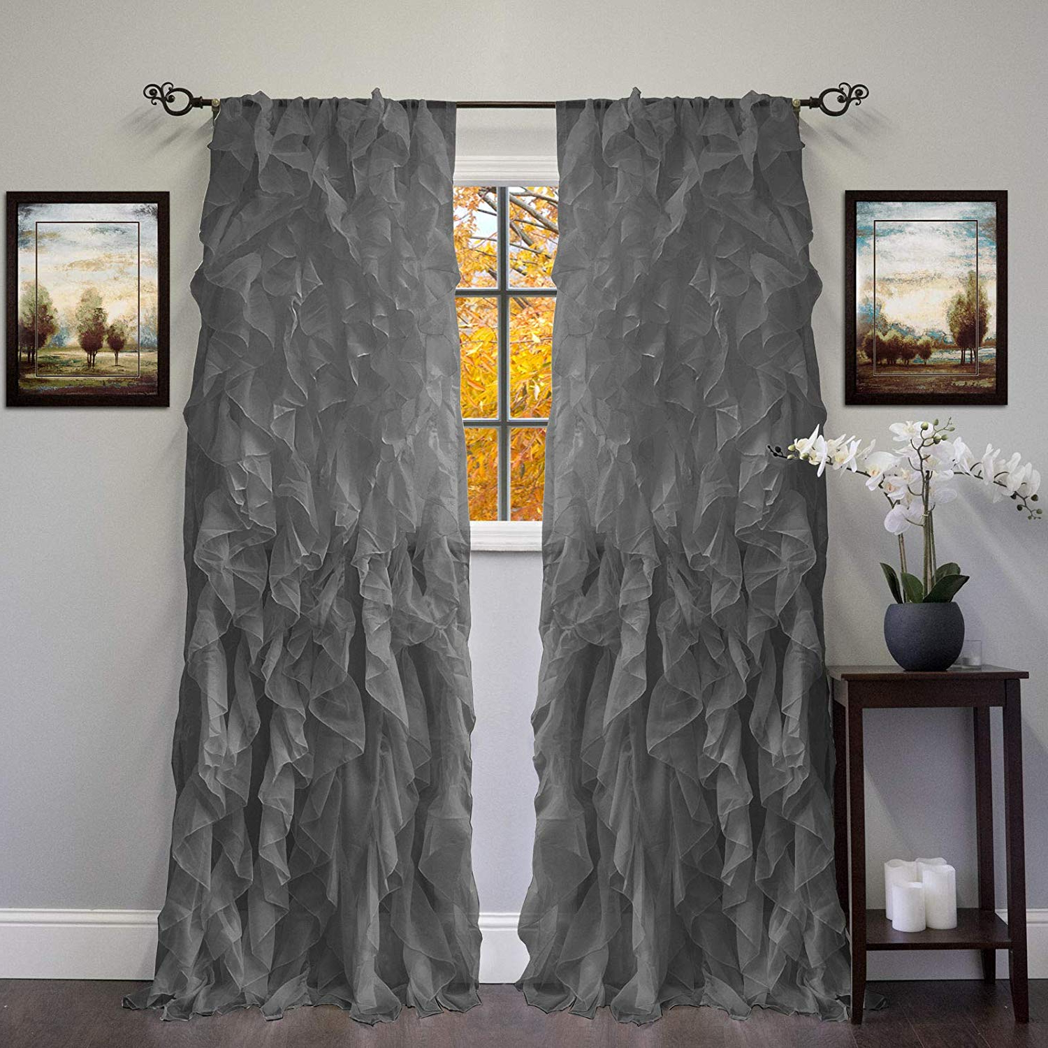 Latest Silver Vertical Ruffled Waterfall Valance And Curtain Tiers Pertaining To Amazon: Dn Lin New Chic Sheer Voile Vertical Ruffled (View 9 of 20)