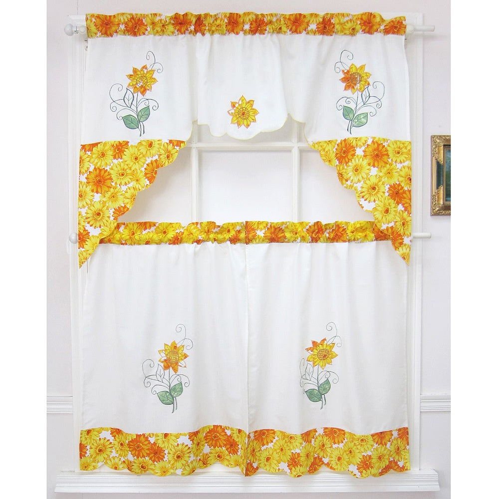 Featured Photo of Spring Daisy Tiered Curtain 3 Piece Sets