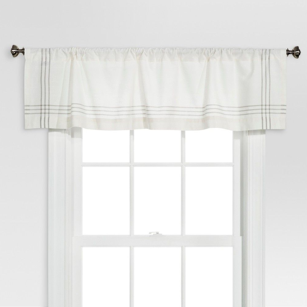 Latest Threshold Window Valance – Cream/gray Plaid Border In 2019 Regarding Cumberland Tier Pairs In Dove Gray (View 13 of 20)
