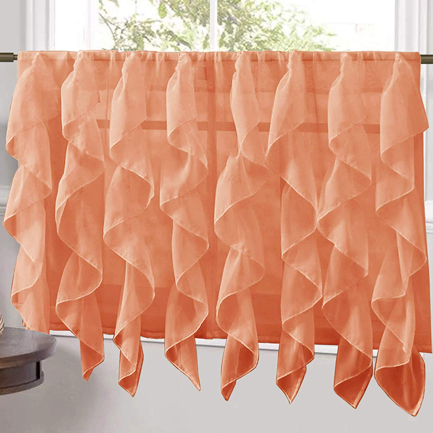"Latest Vertical Ruffled Waterfall Valance And Curtain Tiers Inside Sweet Home Collection Veritcal Kitchen Curtain Sheer Cascading Ruffle  Waterfall Window Treatment – Choice Of Valance, 24"" Or 36"" Teir, And Kit,  Tier (Gallery 16 of 20)"
