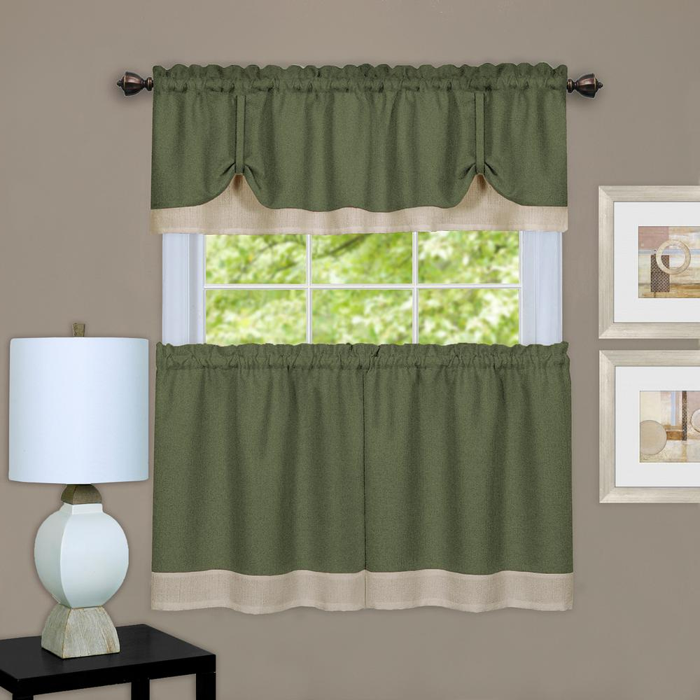 Lemon Drop Tier And Valance Window Curtain Sets In Most Up To Date Achim Darcy Polyester Tier And Valance Curtain Set In Green/camel – 58 In.  W X 24 In. L (Gallery 20 of 20)