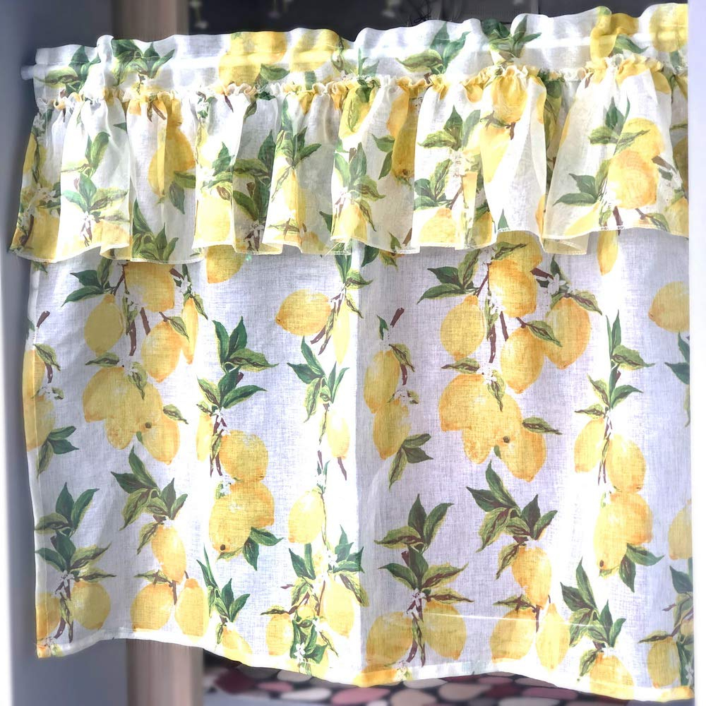 Lemon Drop Tier And Valance Window Curtain Sets In Recent Amazon: Aifish 1 Panel Ruffle Sheer Curtains Valance (View 14 of 20)