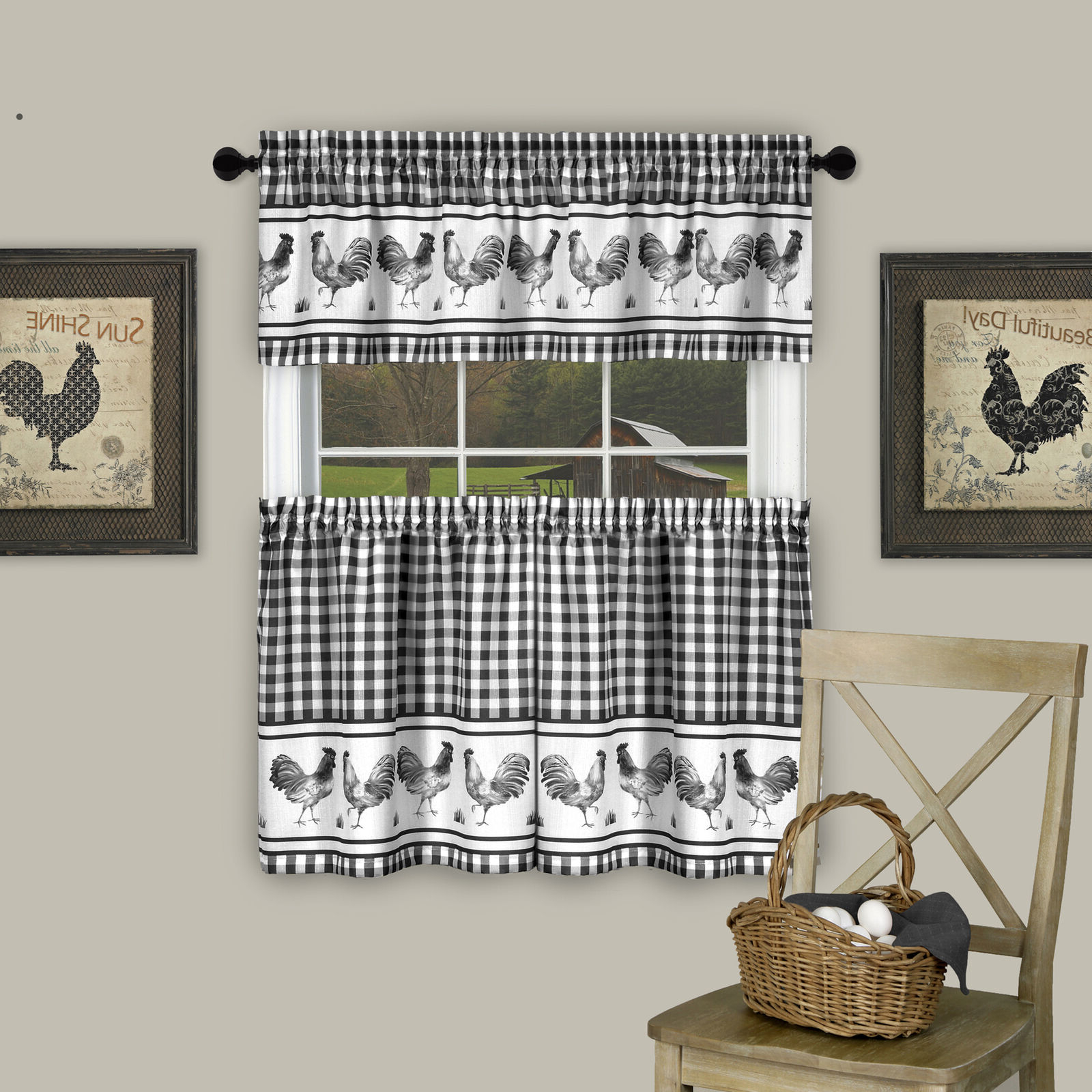 Lemon Drop Tier And Valance Window Curtain Sets Regarding Latest 3Pc Kitchen Curtain Set, Check Gingham Plaid Rooster, Tier Panels And Valance (View 6 of 20)