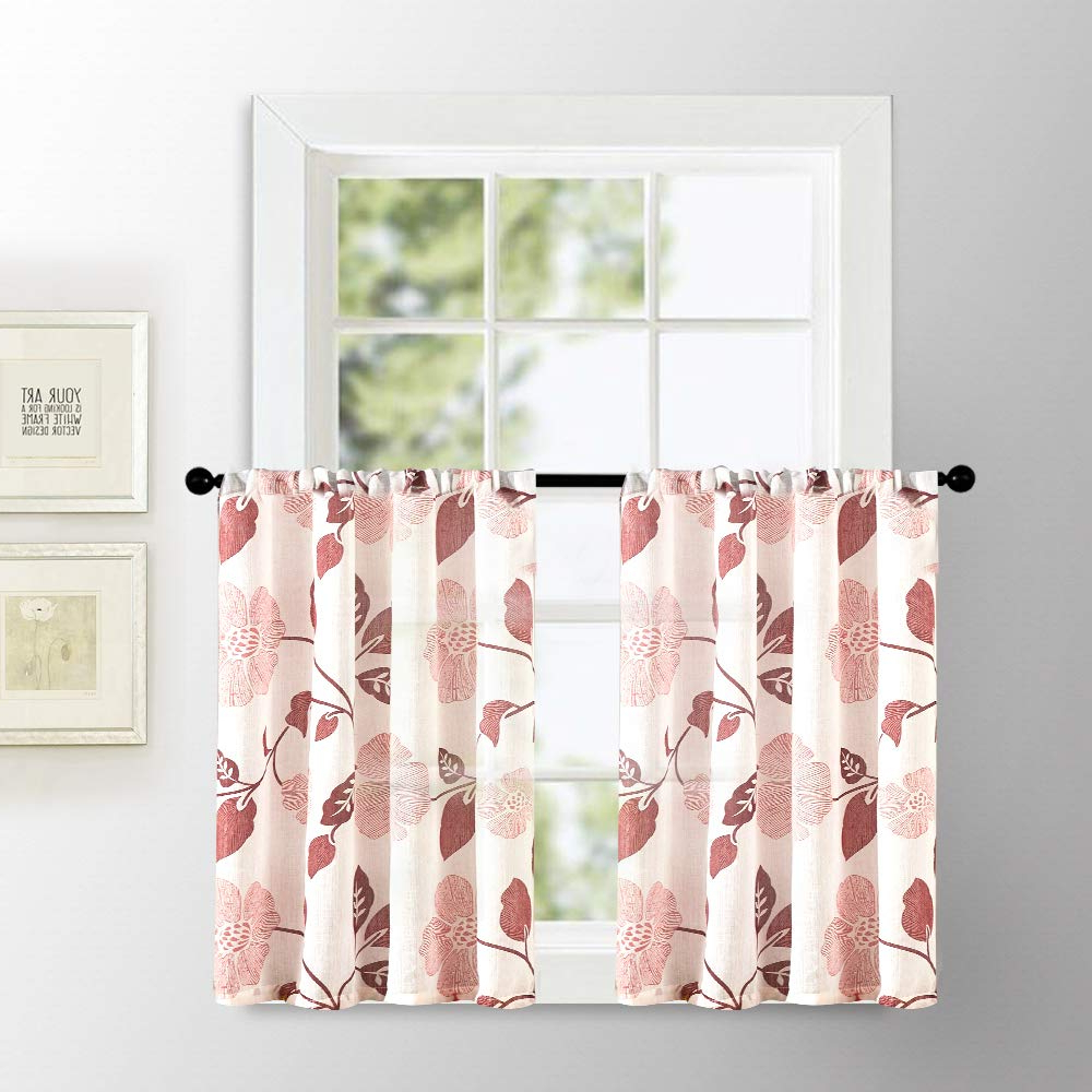 Light Filtering Kitchen Tiers With Current Linen Textured Sheer Tier Curtains 36 Inches Long Kitchen Tiers Burgundy Red Flower Leaves Printed Half Window Curtain Sheers Small Bathroom Print (View 7 of 20)