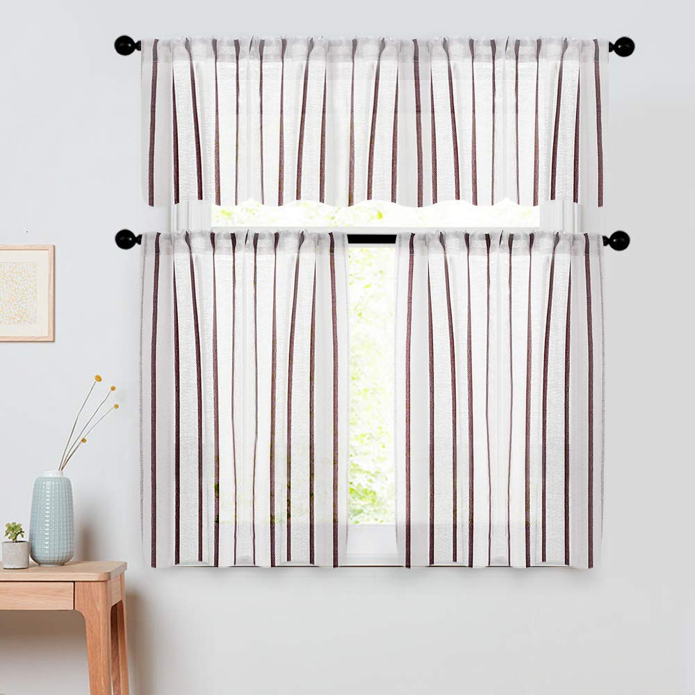 Linen Stripe Rod Pocket Sheer Kitchen Tier Sets Regarding Preferred Semi Sheer Striped Tier Curtains 24 Inch Length Kitchen Tiers Linen Textured Pinstripes Short Bathroom Window Curtain Panels Cafe Curtains Light (View 3 of 20)