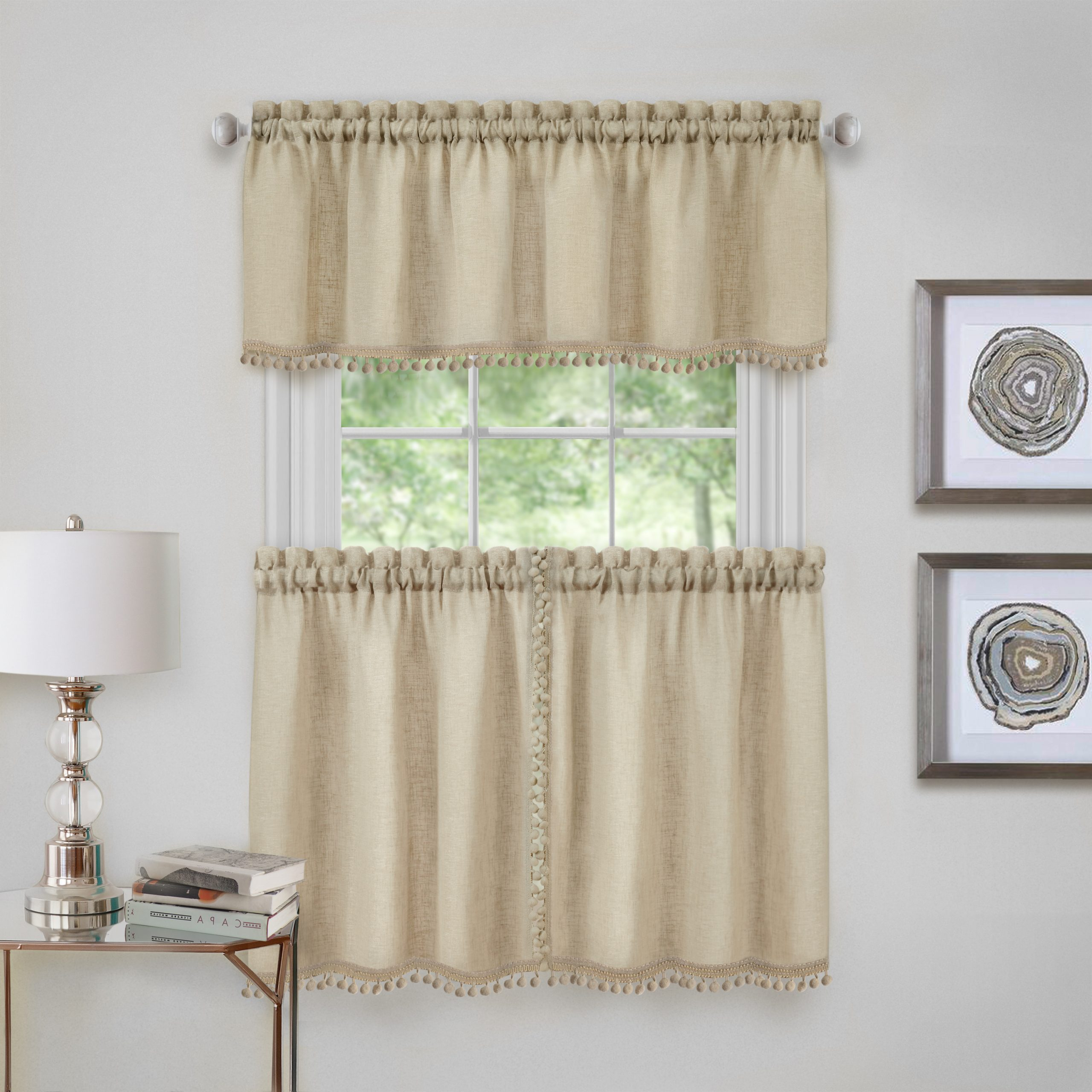 Live, Love, Laugh Window Curtain Tier Pair And Valance Sets With Regard To Famous Achim Wallace Window Kitchen Curtain Tier Pair And Valance Set – 58x24 – Linen (View 14 of 20)