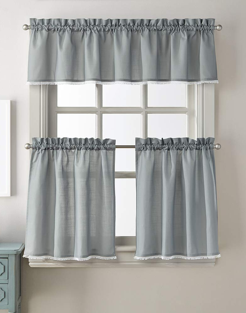 Lodge Plaid 3 Piece Kitchen Curtain Tier And Valance Sets In Preferred Amazon: Chloe Window Kitchen Curtain Tier Pair, Rod (Gallery 12 of 20)