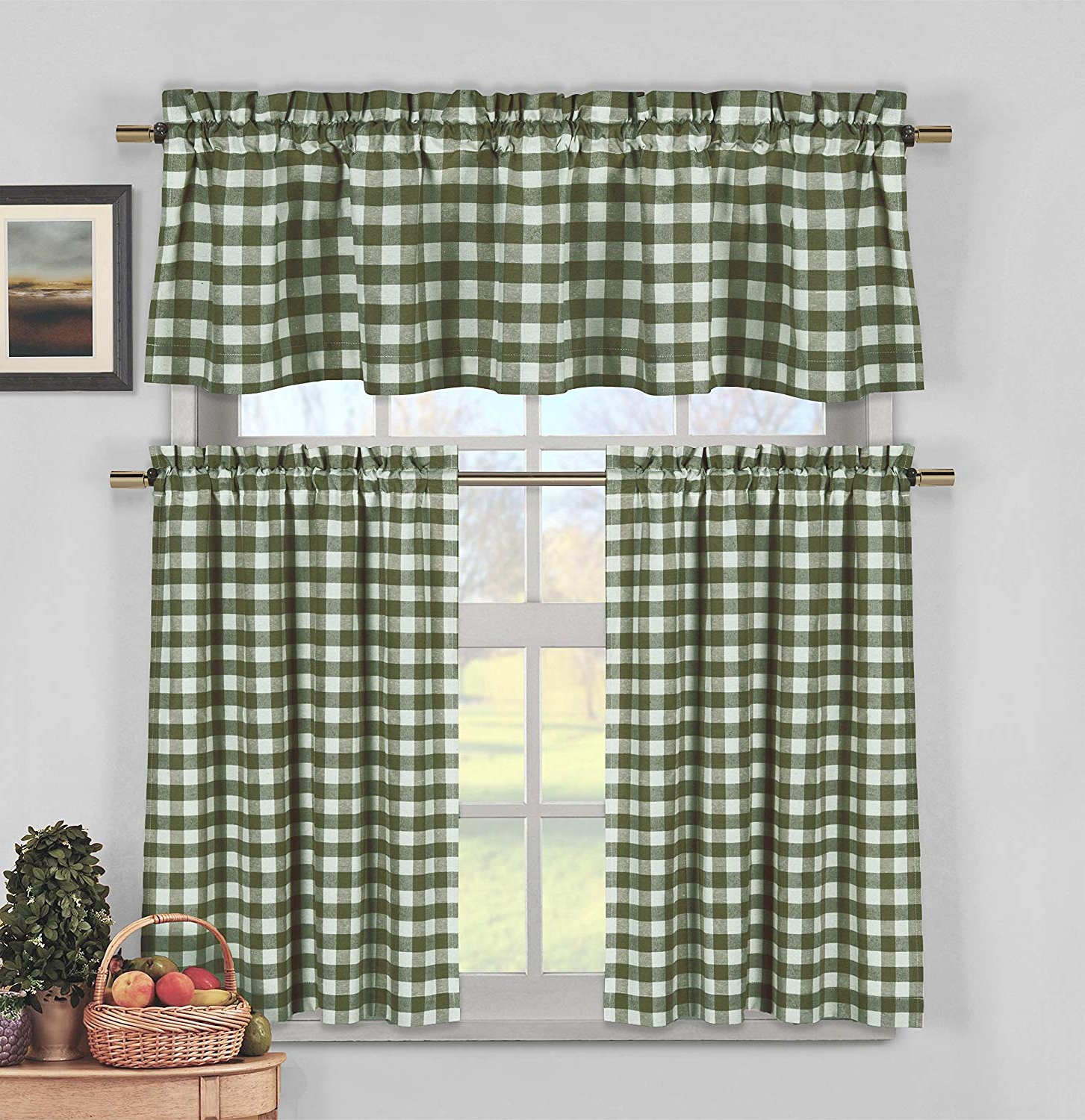Lodge Plaid 3 Piece Kitchen Curtain Tier And Valance Sets Throughout Well Known Sage Green 3 Piece Gingham Check Kitchen Window Curtain Set: Plaid, Cotton  Rich, 1 Valance, 2 Tier Panels (Matching 3 Piece Window Curtain Set) (Gallery 4 of 20)