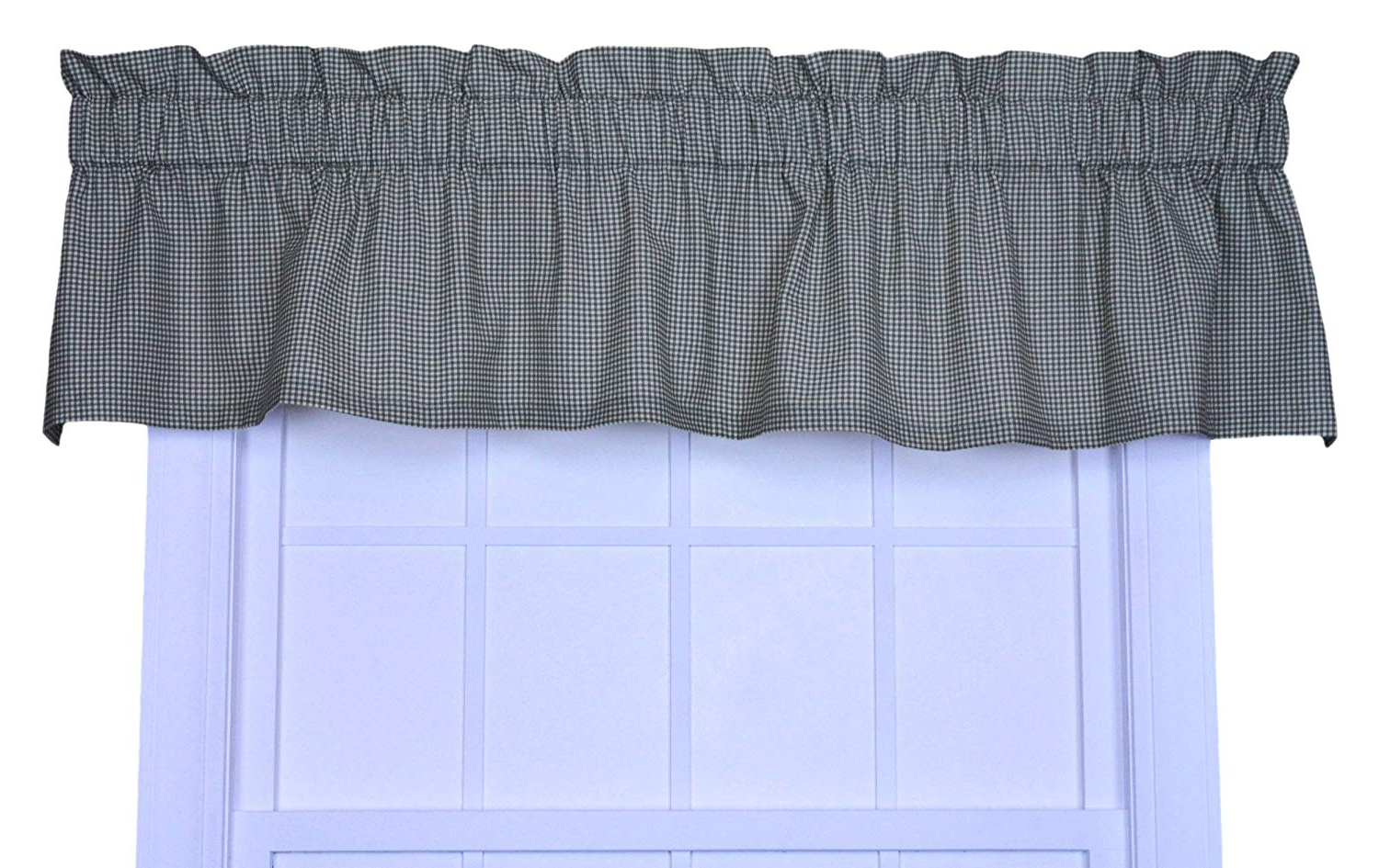 Logan Gingham Check Print Tailored Valance Window Curtain, Green Inside Favorite Tailored Toppers With Valances (View 7 of 20)