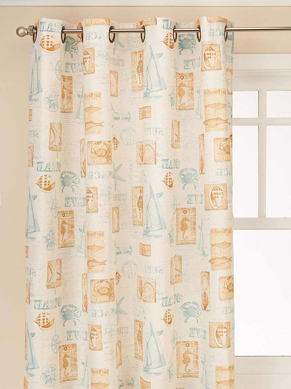 "Lorraine Home Fashionsthe Sea Tier Window Curtains Pair 60"" X 36"", Green For Current Vintage Sea Shore All Over Printed Window Curtains (View 7 of 20)"