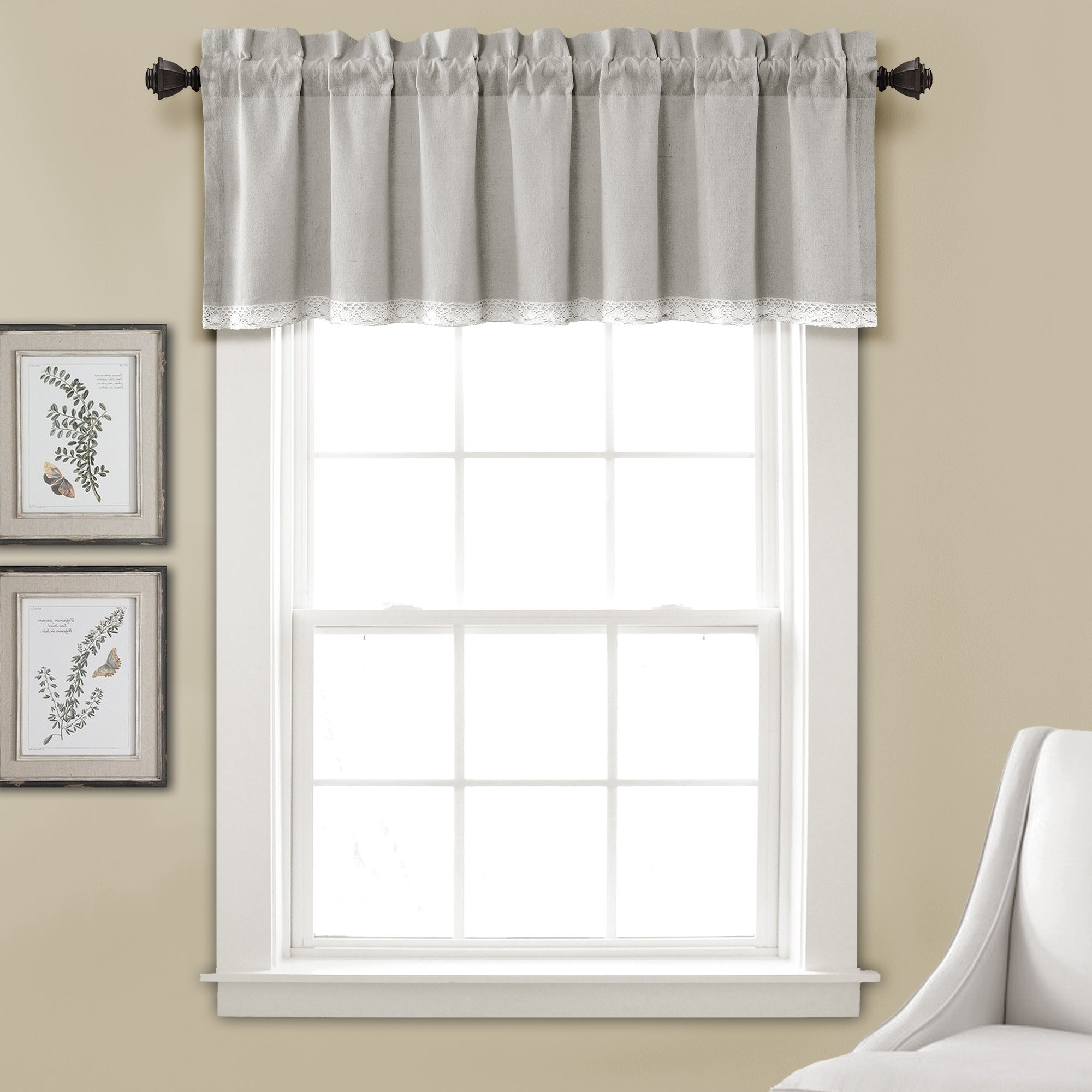 """Lush Decor Linen Lace Window Curtain Valance – 52""""w X 18""""l Pertaining To Favorite Luxury Light Filtering Straight Curtain Valances (Gallery 12 of 20)"""