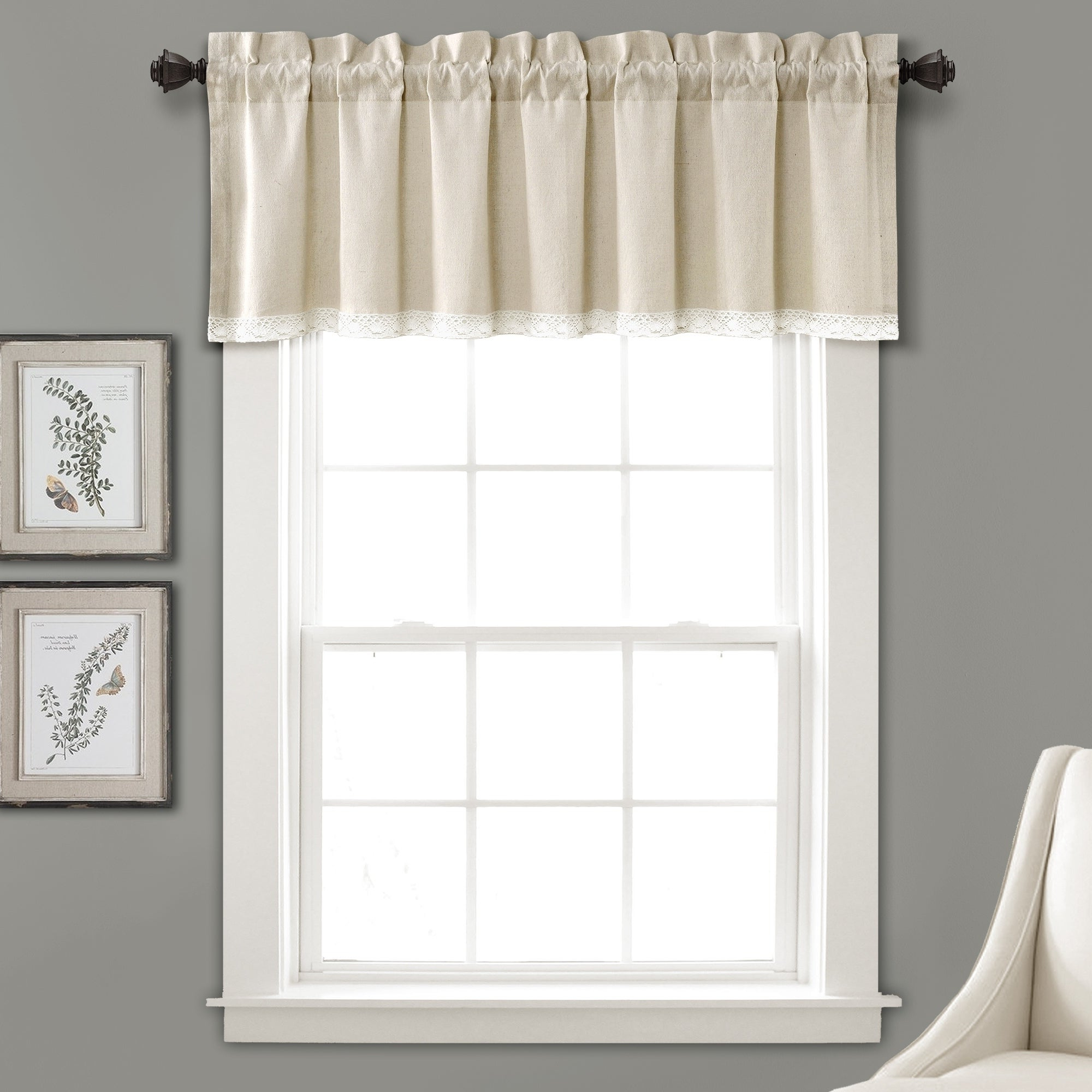 "Lush Decor Linen Lace Window Curtain Valance – 52""w X 18""l With Recent Hudson Pintuck Window Curtain Valances (View 8 of 20)"