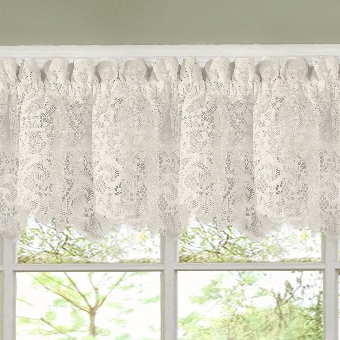 Luxurious Kitchen Curtains Tiers, Shade Or Valances Regarding Fashionable Luxurious Old World Style Lace Kitchen Curtains  Tiers And Valances In Cream (Gallery 2 of 20)
