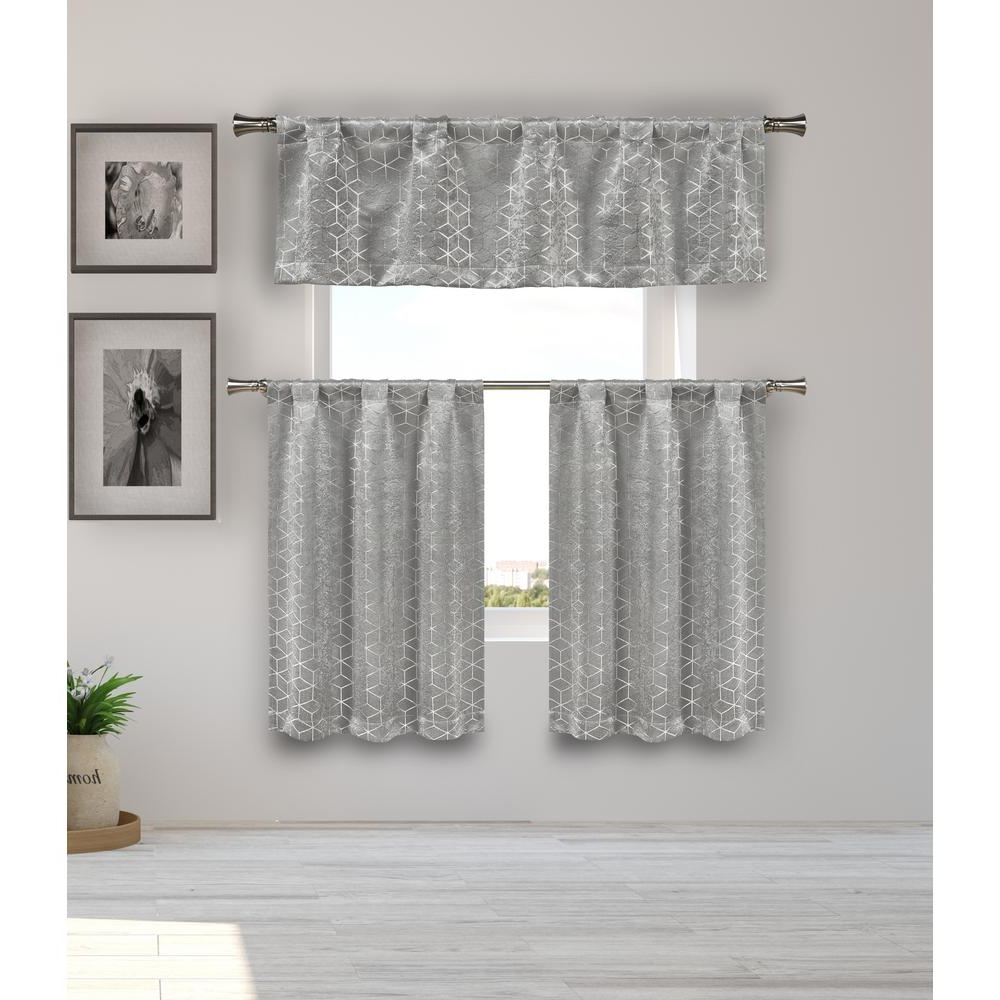 Luxurious Kitchen Curtains Tiers, Shade Or Valances Within Best And Newest Duck River Essie Kitchen Valance In Tiers/silver – 15 In. W X 58 In. L  (3 Piece) (Gallery 12 of 20)