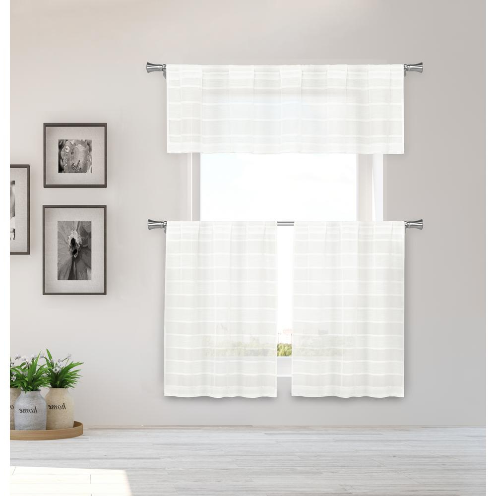 Luxurious Kitchen Curtains Tiers, Shade Or Valances Within Most Popular Duck River Dakota Kitchen Valance In Tiers/linen – 15 In. W X 58 In. L  (3 Piece) (Gallery 13 of 20)