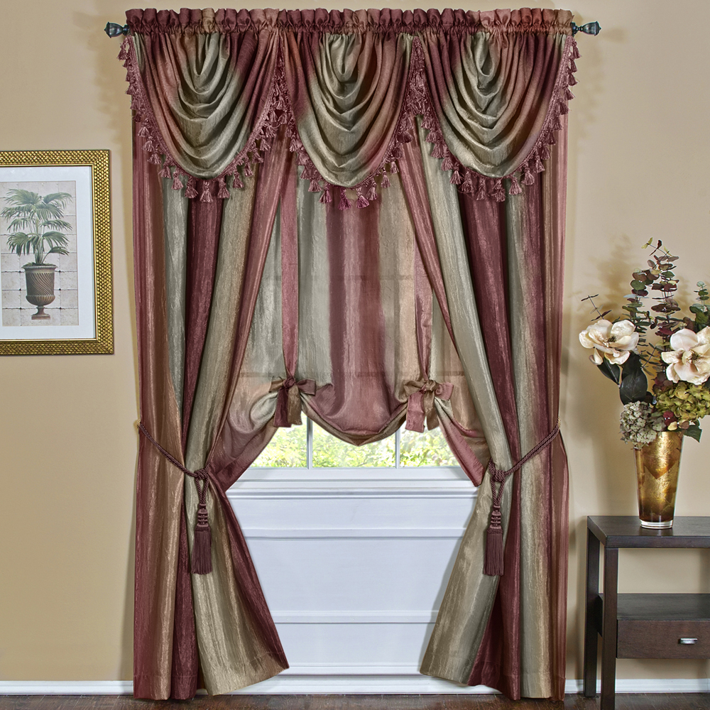 Luxury Light Filtering Straight Curtain Valances With Regard To Well Known Details About Burgundy Striped Modern Semi Sheer Light Filtering Window Curtain Drape Set (View 18 of 20)