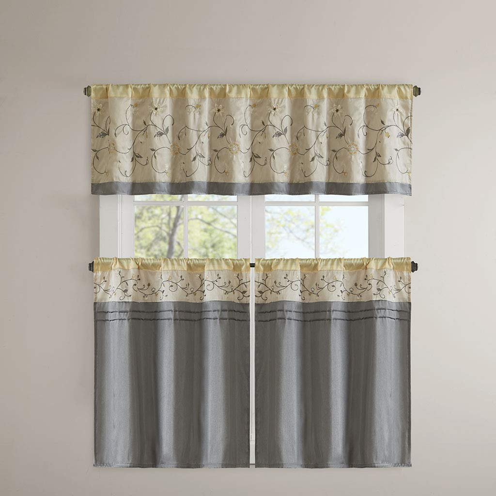 Madison Park Serene Embroidered Kitchen Tier Set 2 Pieces Curtains With Rod Pocket Finished, 30X36, Yellow, In Most Recent Serene Rod Pocket Kitchen Tier Sets (Gallery 5 of 20)