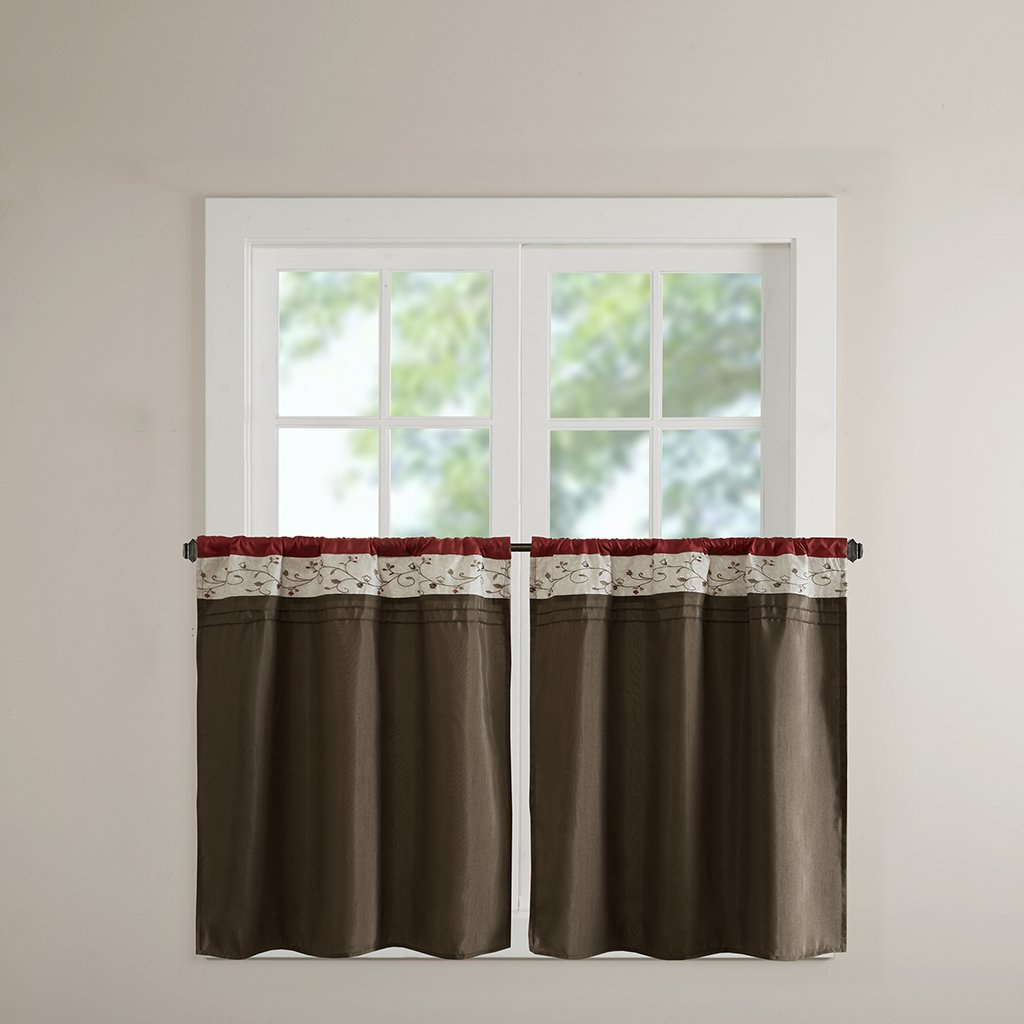 Madison Park Serene Embroidered Tier Set 2 Pieces Kitchen Curtains With Rod Pocket Finished, 30x36, Red For Famous Serene Rod Pocket Kitchen Tier Sets (View 3 of 20)