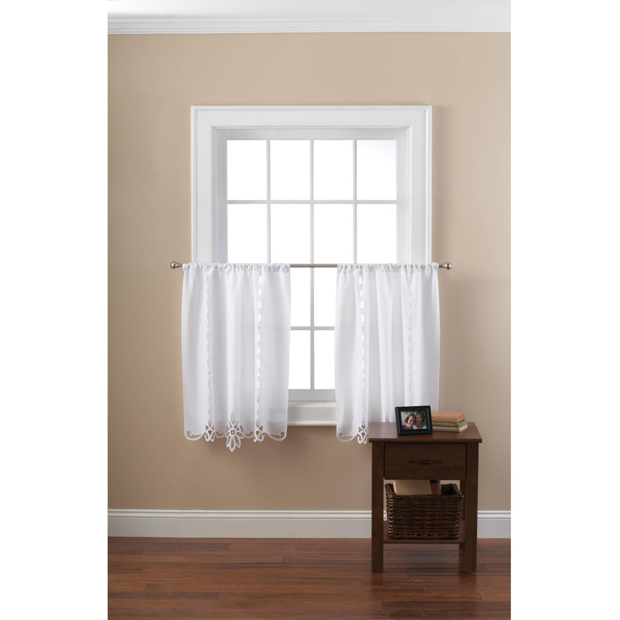 Mainstays Battenburg White Lace Kitchen Curtains, Set Of 2 – Walmart In 2020 Classic Black And White Curtain Tiers (View 14 of 20)