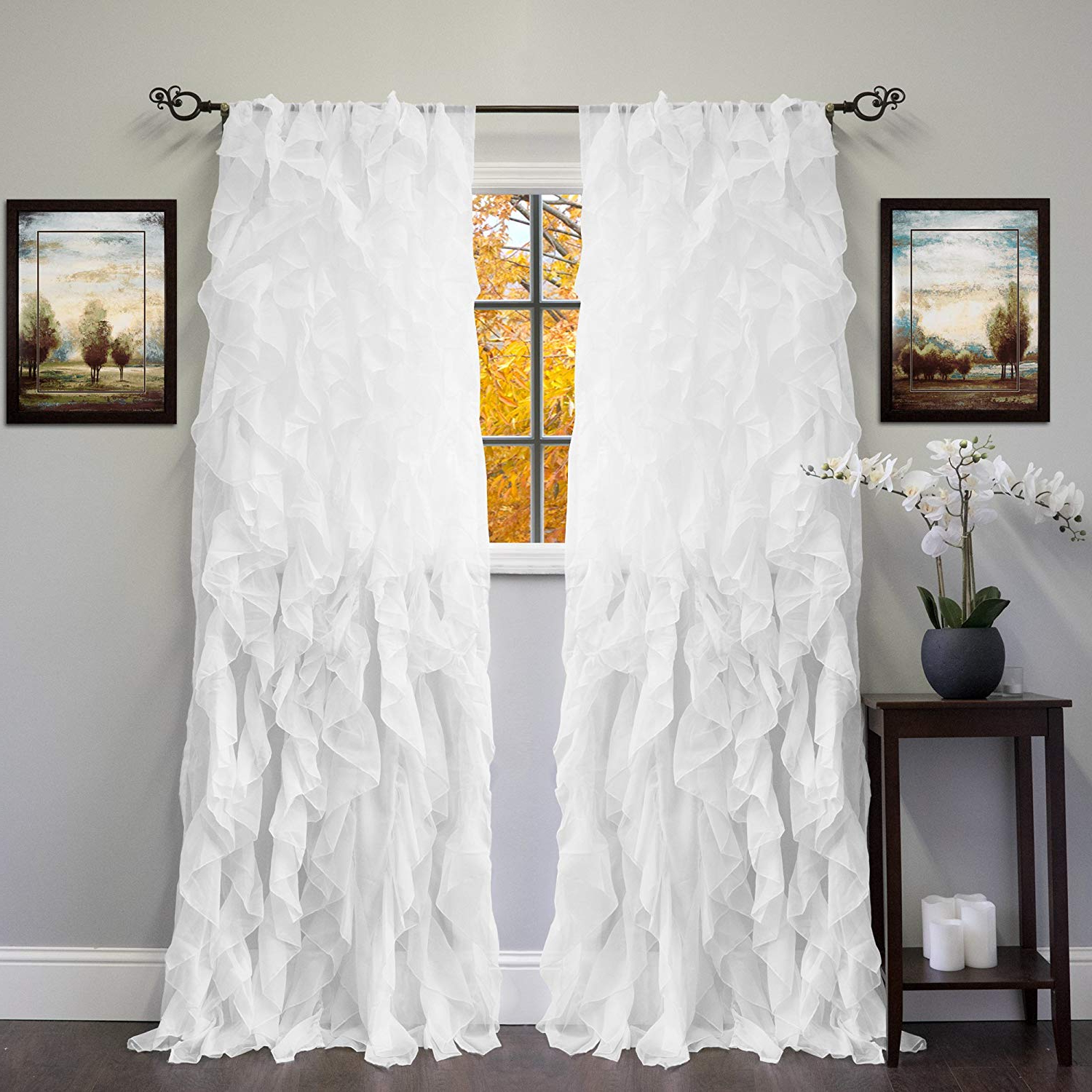 "Maize Vertical Ruffled Waterfall Valance And Curtain Tiers For Trendy Sweet Home Collection Sheer Voile Vertical Ruffled Window Curtain Panel 50""  X 84"", 84"" X 50"", White, 2 Piece (Gallery 13 of 20)"