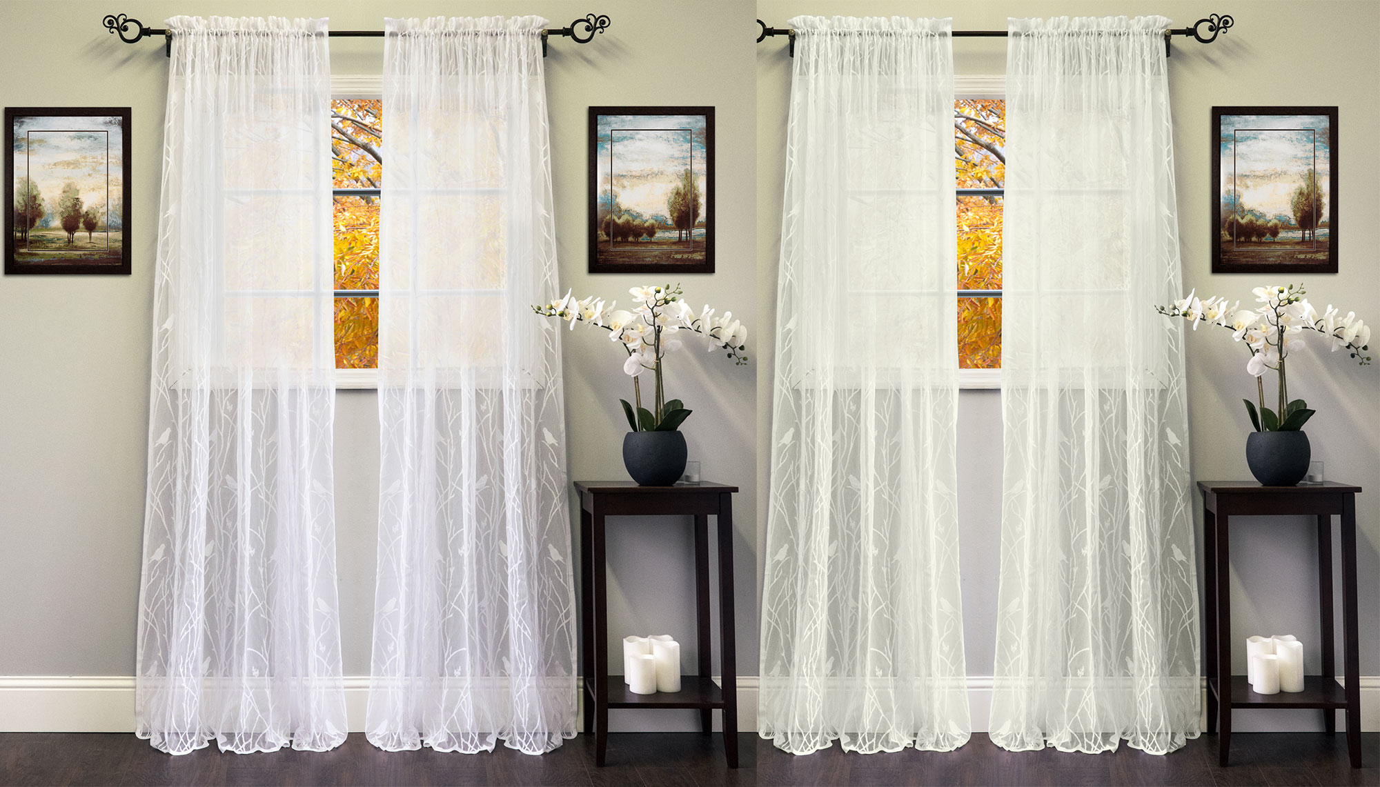 "Marine Life Motif Knitted Lace Window Curtain Pieces Pertaining To Most Popular Details About Knit Lace Polyester Songbird Motif 56""x 84"" Window Curtain Panel (Gallery 20 of 20)"