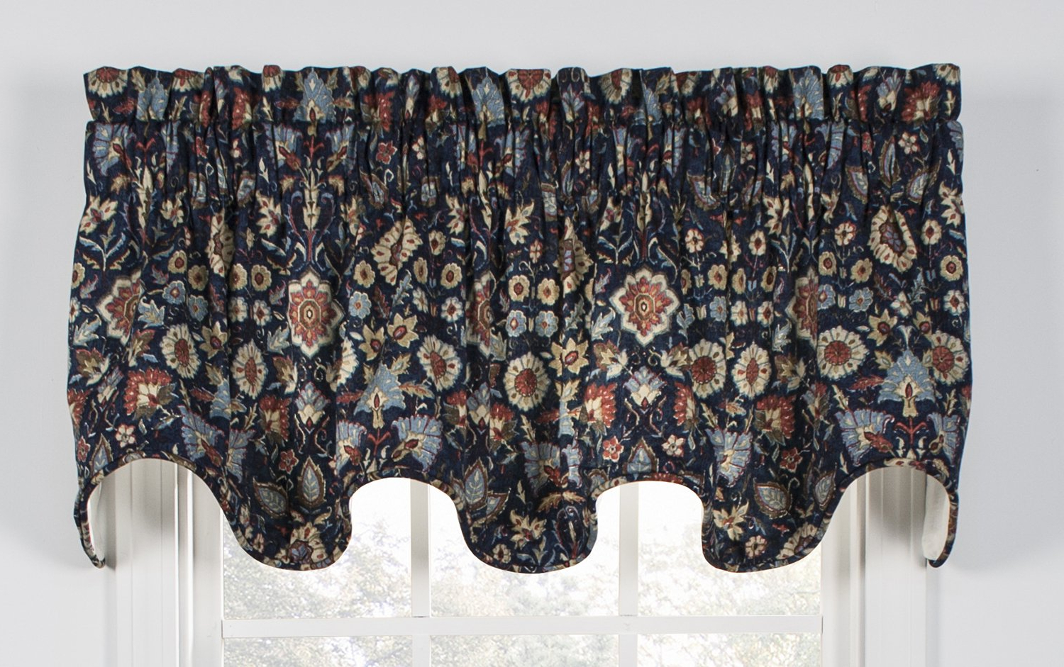 Medallion Window Curtain Valances In Most Recent Ellis Curtain Adelle Medallion Lined Scallop Valance 70 Inch By 17 Inch,  Navy (Gallery 1 of 20)