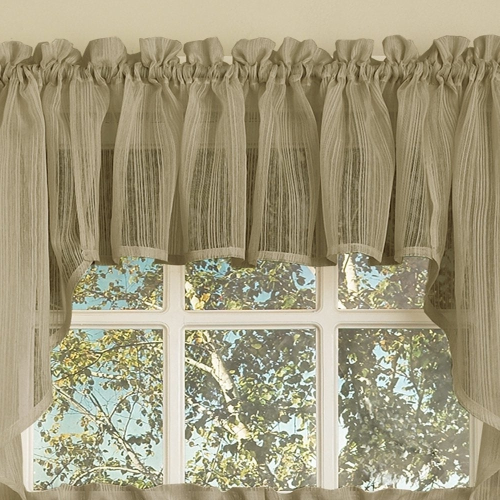 Micro Striped Semi Sheer Window Curtain Pieces For 2020 Mocha Micro Striped Semi Sheer Window Curtain Pieces (View 7 of 20)