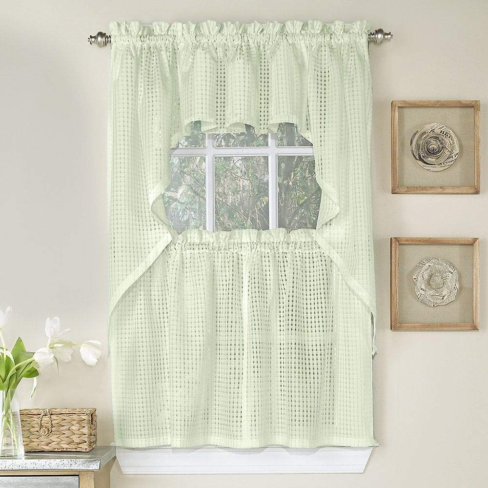 Micro Striped Semi Sheer Window Curtain Pieces Inside Latest Amazon: Bed Bath N More Cream Tone On Tone Raised Micro (Gallery 8 of 20)